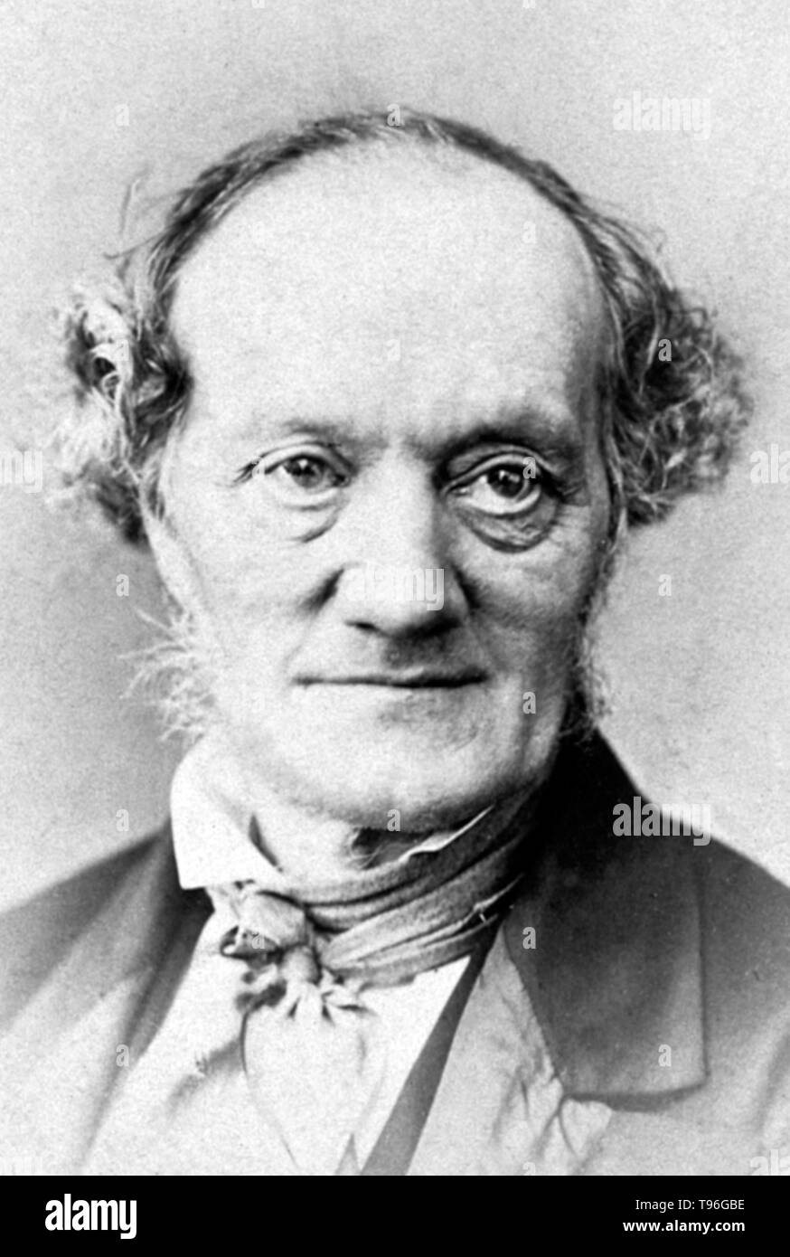 Richard Owen (July 20, 1804 - December 18, 1892) was an English biologist, comparative anatomist and paleontologist. One of his positions was that of prosector for the London Zoo, which meant that he had to dissect and preserve any zoo animals that died in captivity. This gave him vast experience with the anatomy of exotic animals. He produced a vast array of scientific work, but is probably best remembered today for coining the word Dinosauria. Owen was an outspoken critic of Darwin's theory of evolution by natural selection. He agreed with Darwin that evolution occurred, but thought it was m - Stock Image