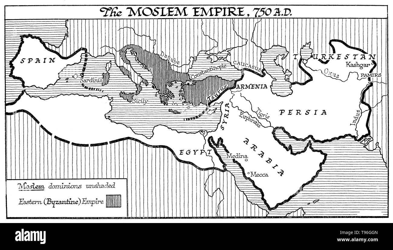 The Umayyad Caliphate (Omayyad) was the second of the four major caliphates established after the death of Muhammad. The caliphate was ruled by the Umayyad dynasty, hailing from Mecca. Syria remained the Umayyads' main power base thereafter, and Damascus was their capital. The Umayyads continued the Muslim conquests, incorporating the Transoxiana, Sindh, the Maghreb and the Iberian Peninsula (Al-Andalus) into the Muslim world. At its greatest extent, the Umayyad Caliphate covered 4,300,000 square miles and 62 million people (29% of the world's population), making it one of the largest empires  - Stock Image