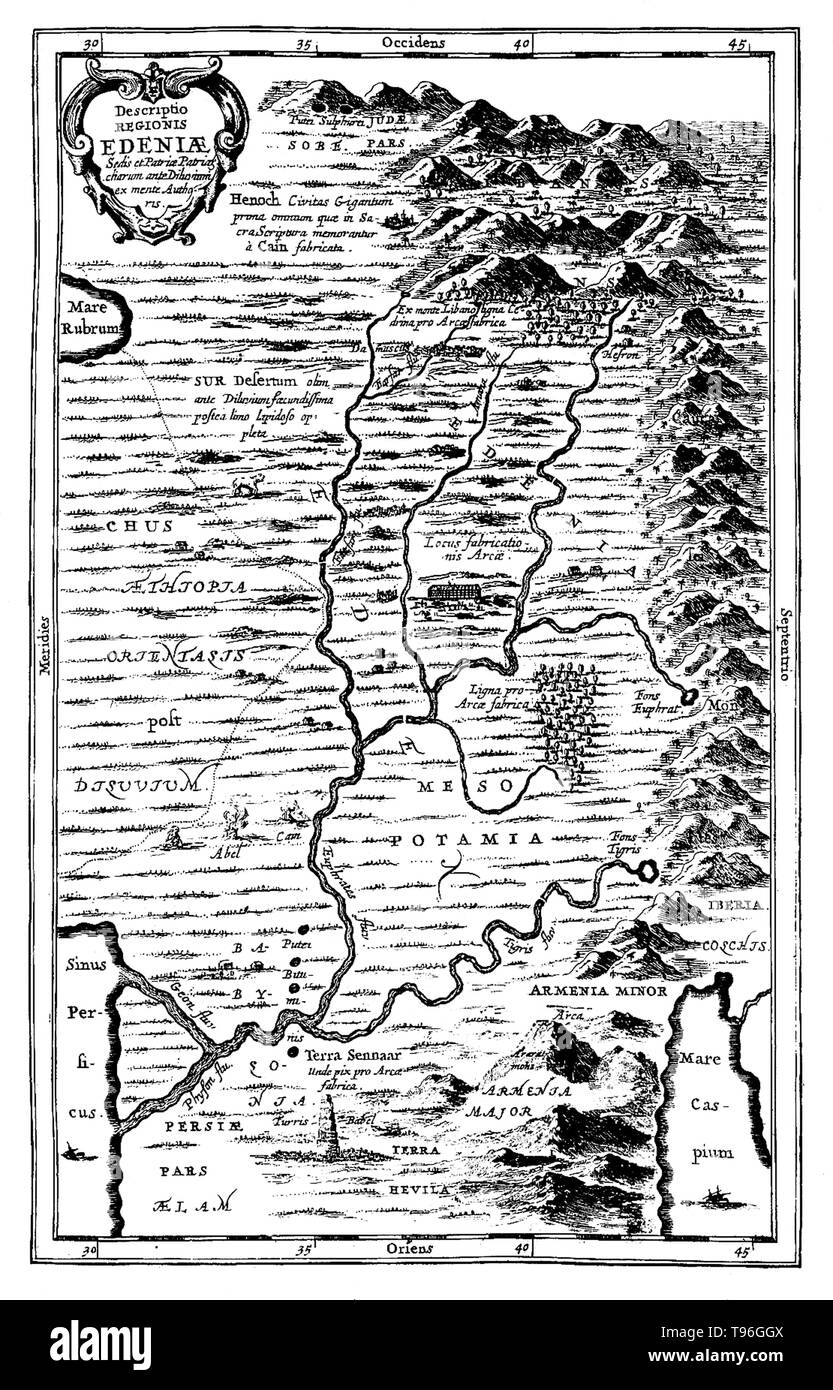 Map of Ediniae: comprising of Ethiopia, Mesopotamia, etc. The Garden of Eden is considered to be mythological by most scholars. However there have been suggestions for its supposed location: for example, at the head of the Persian Gulf, in southern Mesopotamia (now Iraq) where the Tigris and Euphrates rivers run into the sea; and in the Armenian Highlands or Armenian Plateau. No artist credited, undated. - Stock Image