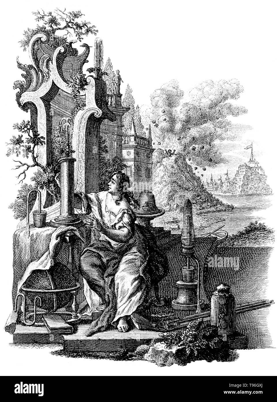 Figures representing the investigation of nature; in the background, Pliny the elder being killed while investigating Vesuvius during its eruption. Gaius Plinius Secundus (AD 23 - AD 79), better known as Pliny the Elder, was a Roman author, naturalist, and natural philosopher, as well as naval and army commander of the early Roman Empire, and personal friend of the emperor Vespasian. He wrote an encyclopedic work, Naturalis Historia, which became a model for all other encyclopedias. He died while attempting to rescue a friend and his family from the eruption of Mount Vesuvius that had just des - Stock Image