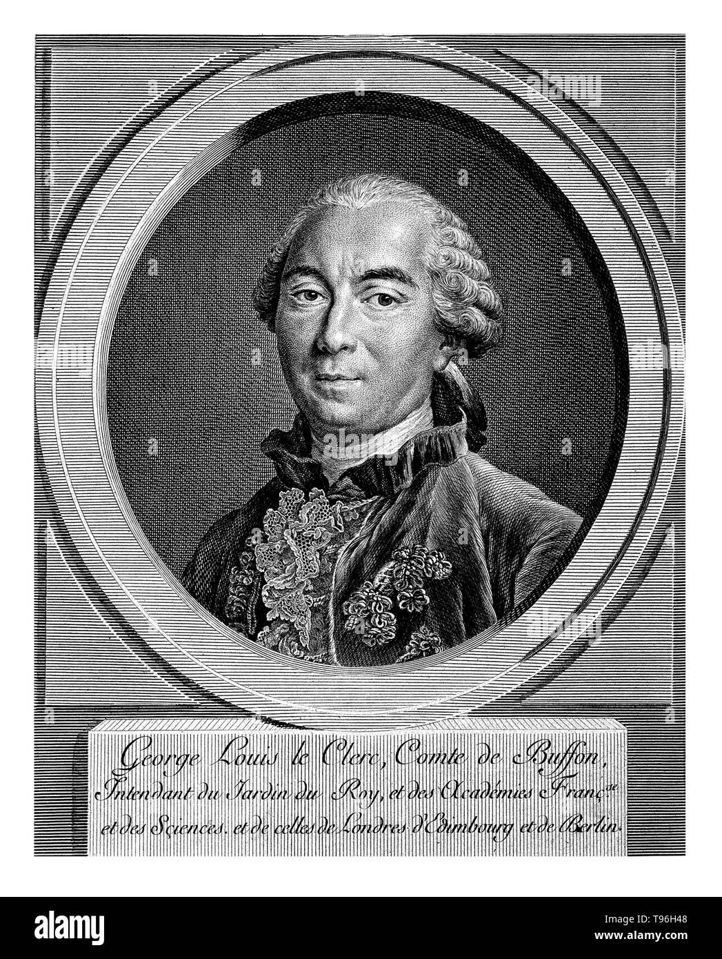 Georges Louis Leclerc, Comte de Buffon (September 7, 1707 - April 16, 1788) was a French naturalist, mathematician, cosmologist, and encyclopedic author. He epitomizes the revolutionary changes that the Enlightenment brought to the study of nature. 100 years before Darwin, Buffon published his Historie Naturelle (Natural History), a 44 volume encyclopedia describing everything known about the natural world, he wrestled with the similarities of humans and apes and even talked about common ancestry of Man and apes, but ultimately rejected the possibility of a common descent. His works influenced - Stock Image