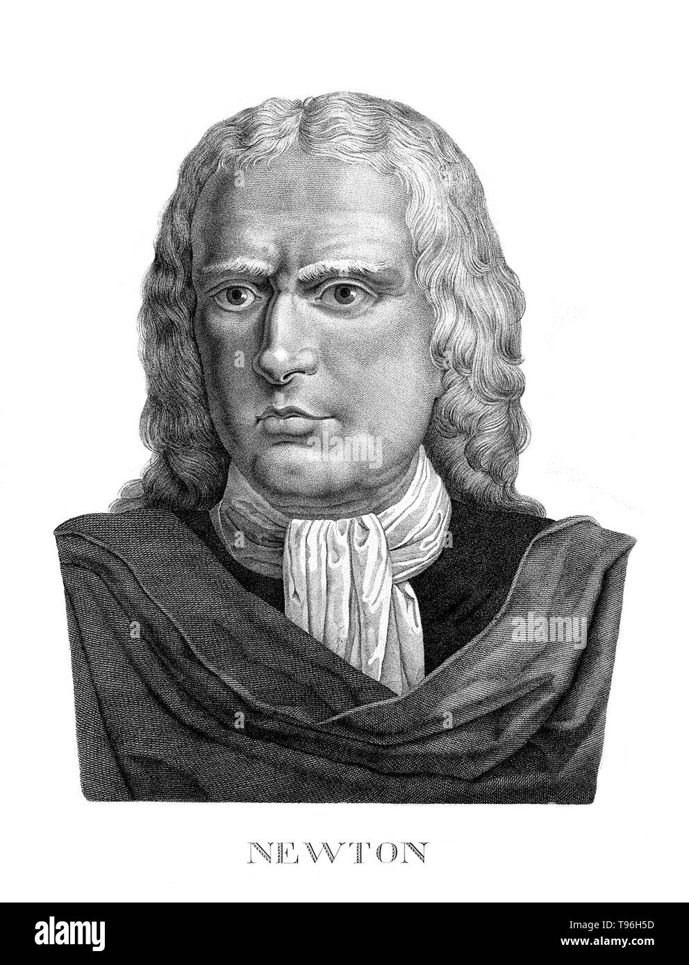 Isaac Newton (December 25, 1642 - March 20, 1727) was an English physicist, mathematician, astronomer, natural philosopher, alchemist, and theologian. His monograph ''Philosophiae Naturalis Principia Mathematica'', published in 1687, lays the foundations for most of classical mechanics. In this work, Newton described universal gravitation and the three laws of motion, which dominated the scientific view of the physical universe for the next three centuries. - Stock Image