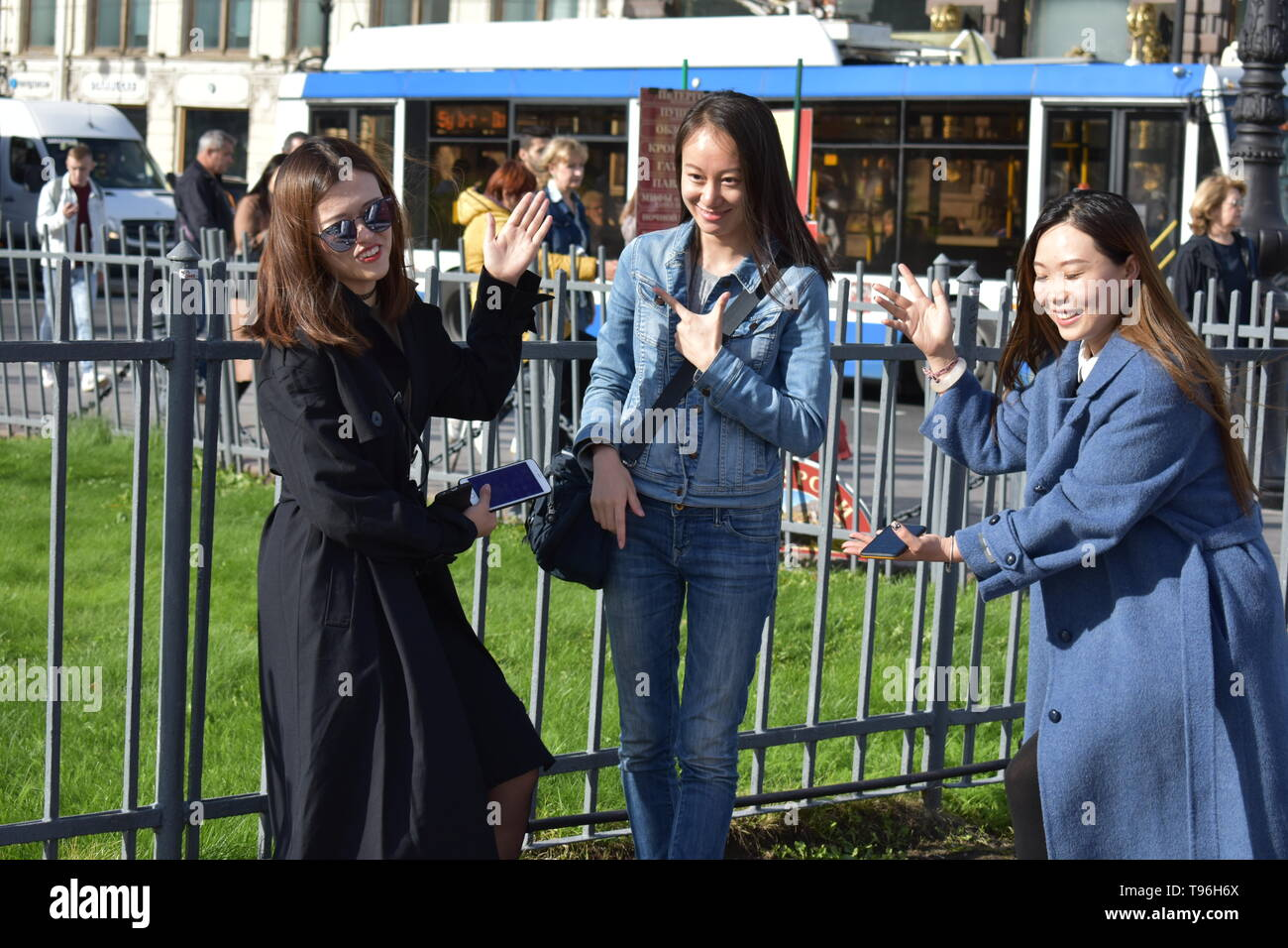St.Petersburg Russia September 18 2018 Beautiful Chinese girls  posing for photographer Stock Photo