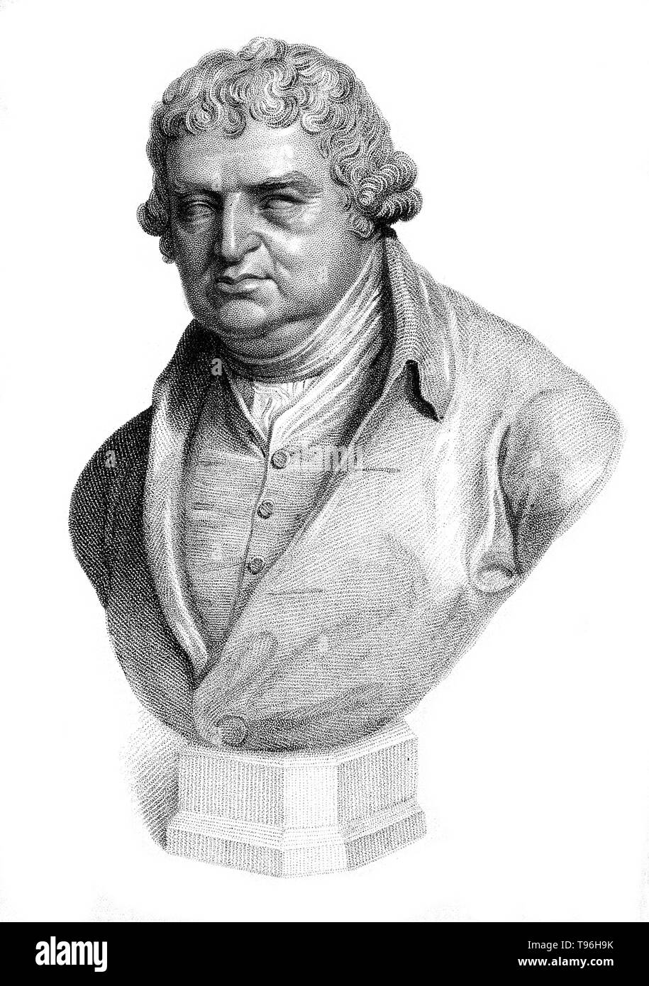 Erasmus Darwin (December 12, 1731 - April 18, 1802) was an English physician. One of the key thinkers of the Midlands Enlightenment, he was also a natural philosopher, physiologist, slave-trade abolitionist, inventor and poet. He invented a carriage steering mechanism, a manuscript copier and a speaking machine. His poems included much natural history, including a statement of evolution and the relatedness of all forms of life. He was a founding member of the Lunar Society of Birmingham, a discussion group of pioneering industrialists and natural philosophers. His grandsons include Charles Dar - Stock Image
