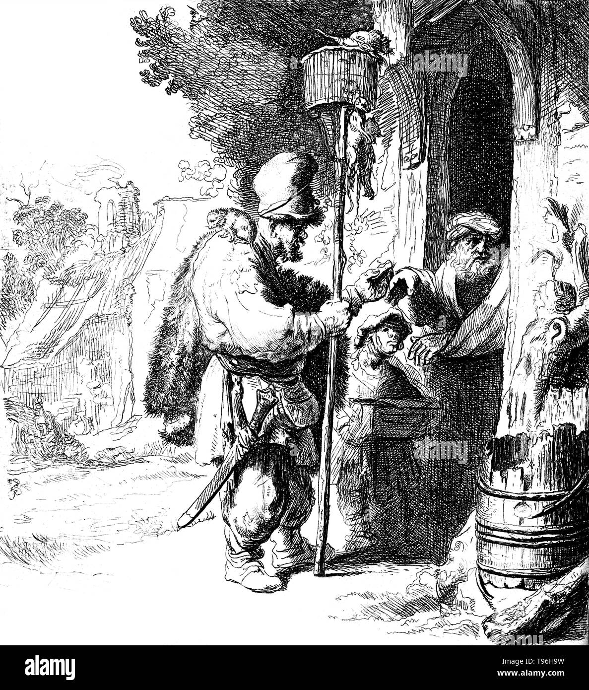 A rat-catcher and his young assistant standing at a doorway are having their services refused by an old man; the rat-catcher holds a long stick with a cage on top containing rats, on his right shoulder sits a rat. A rat-catcher is a person who practices rat-catching as a professional form of pest control. Keeping the rat population under control was practiced in Europe to prevent the spread of diseases, most notoriously the Black Plague, and to prevent damage to food supplies. In modern developed countries, such a professional is otherwise known as a pest control operative or pest technician.  - Stock Image