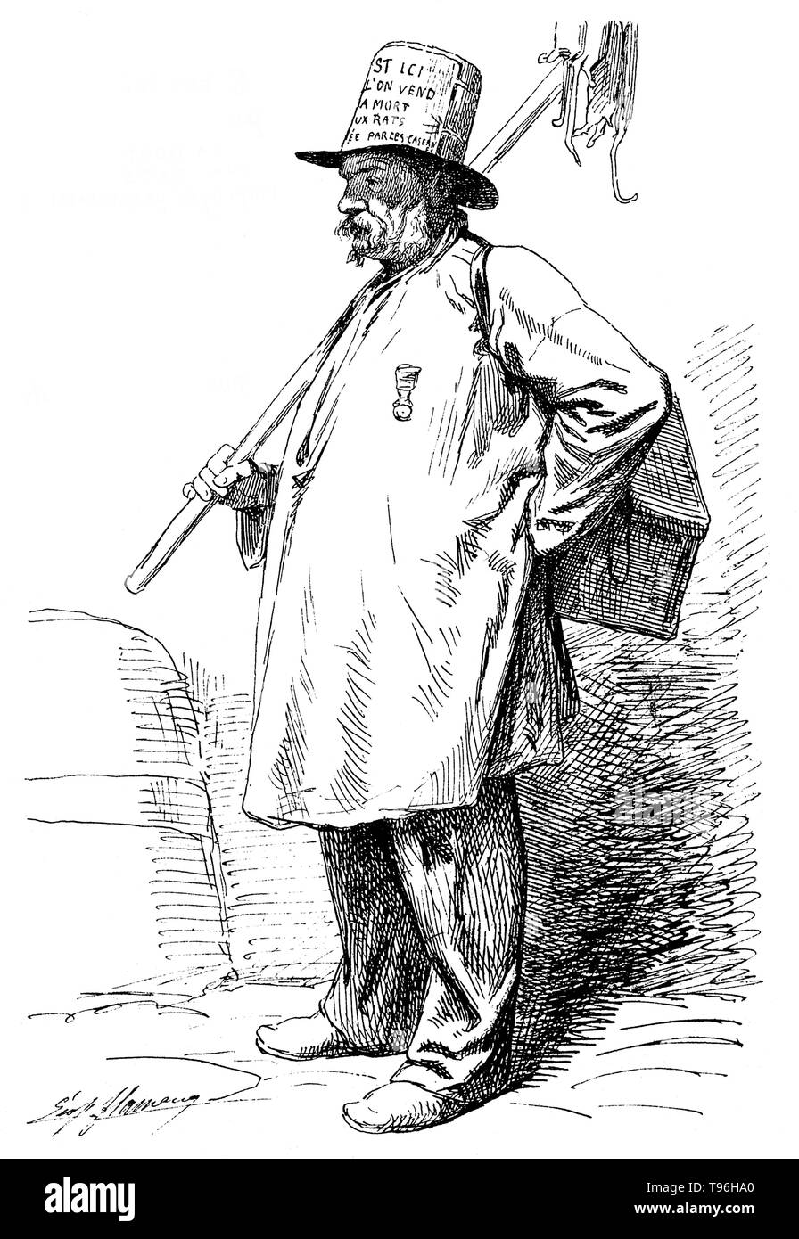 A rat-catcher carrying a pole with dead rats suspended from it, a box strapped over his left shoulder and wearing a hat advertising his occupation. A rat-catcher is a person who practices rat-catching as a professional form of pest control. Keeping the rat population under control was practiced in Europe to prevent the spread of diseases, most notoriously the Black Plague, and to prevent damage to food supplies. In modern developed countries, such a professional is otherwise known as a pest control operative or pest technician. Rat-catchers may attempt to capture rats themselves, or release ra - Stock Image