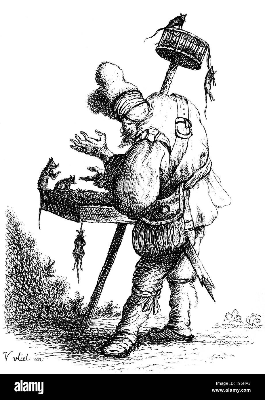 A rat-catcher enticing rats in to a tray which is strapped around his shoulder; he also holds a pole with a cage on top of it in which rats are trapped. A rat-catcher is a person who practices rat-catching as a professional form of pest control. Keeping the rat population under control was practiced in Europe to prevent the spread of diseases, most notoriously the Black Plague, and to prevent damage to food supplies. In modern developed countries, such a professional is otherwise known as a pest control operative or pest technician. Rat-catchers may attempt to capture rats themselves, or relea - Stock Image