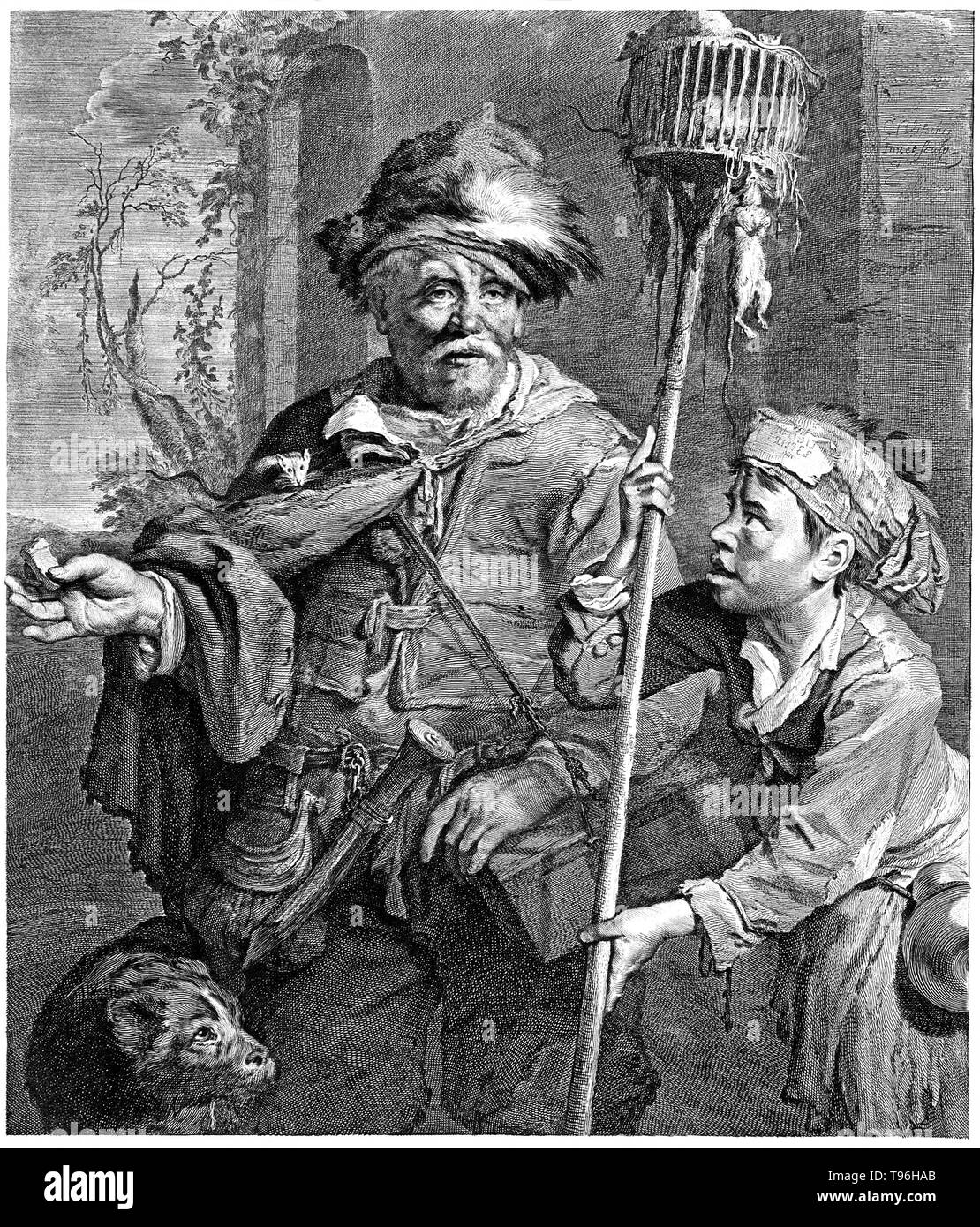 A rat-catcher in Haarlem with a rat running along his cape holds out rat poison in his right hand; to the right a boy assistant carries a cage on a long stick with rats in it and hanging off it. A rat-catcher is a person who practices rat-catching as a professional form of pest control. Keeping the rat population under control was practiced in Europe to prevent the spread of diseases, most notoriously the Black Plague, and to prevent damage to food supplies. - Stock Image