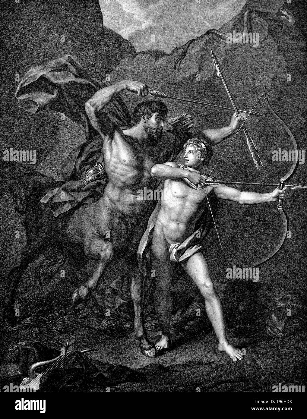 Chiron and Achilles. Chiron (Kheiron) was the eldest and wisest of the Centaurs, a tribe of half-horse men. He was an immortal god, a son of the Titan Kronos (Cronus) and the nymph Philyra. While Kronos was coupling with Philyra his wife Rhea appeared so to escape notice he transformed himself into a horse, and in this way sired a half-equine son. Like the satyrs, centaurs were notorious for being wild and lusty, overly indulgent drinkers and carousers, given to violence when intoxicated, and generally uncultured delinquents. Chiron, by contrast, was intelligent, civilized and kind, but he was - Stock Image