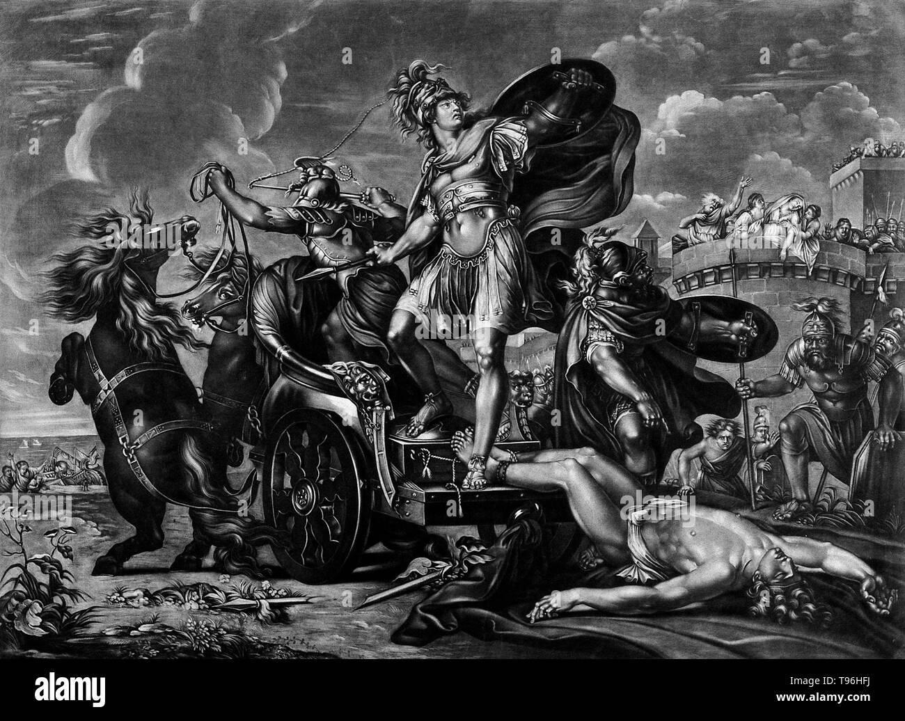 Achilles dragging the body of Hector around Troy. In Greek mythology, Achilles was a Greek hero of the Trojan War, the central character and the greatest warrior of Homer's Iliad. Legends state that Achilles was invulnerable in all of his body except for his heel. He died because of a small wound on his heel, thus the term Achilles' heel has come to mean a person's principal weakness.  Hector was a Trojan prince and the greatest fighter for Troy. Achilles defeated Hector in combat, he then slit Hector's heels and passed the girdle that Ajax had given Hector through the slits. He then fastened  - Stock Image