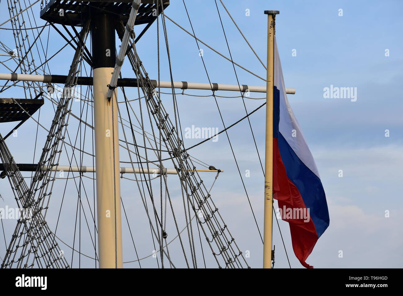 Sail ship detail. Close up - Stock Image