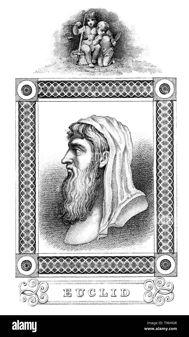 Euclid (meaning, good glory, 300 BC) was an ancient Greek mathematician, often referred to as the ''Father of Geometry''. Little is known about his life. The date and place of Euclid's birth and the date and circumstances of his death are unknown. No likeness or description of Euclid's physical appearance made during his lifetime survived antiquity. Therefore, Euclid's depiction in works of art is the product of the artist's imagination. Euclid brought together previous mathematical work and extended it. He recorded this in a systematic way in thirteen books called the Elements of Geometry. Si - Stock Image