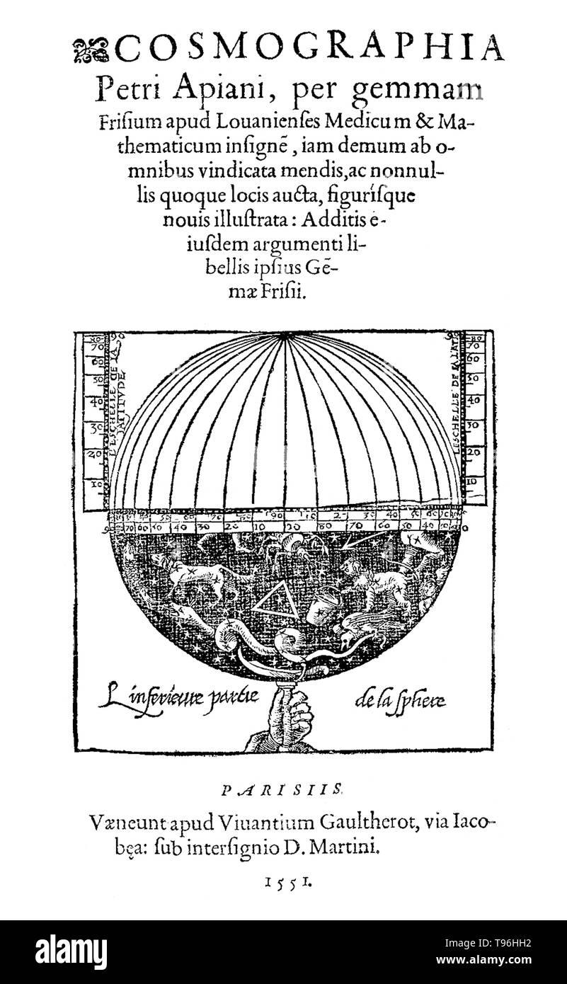 Petrus  Apianus, Cosmographia, title page, 1551.Petrus Apianus (April 16, 1495 - April 21, 1552) was a German humanist, known for his works in mathematics, astronomy and cartography. In 1524 he produced his Cosmographicus liber, a respected work on astronomy and navigation that was to see at least 30 reprints in 14 languages. In 1527 he published a variation of Pascal's triangle, and in 1534 a table of sines. In 1531, he observed a comet and discovered that a comet's tail always point away from the sun. In 1540, he printed the Astronomicum Caesareum, dedicated to Charles V who appointed him hi - Stock Image