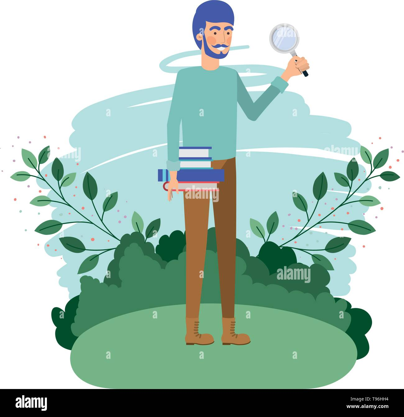 man in landscape with magnifying glass - Stock Vector