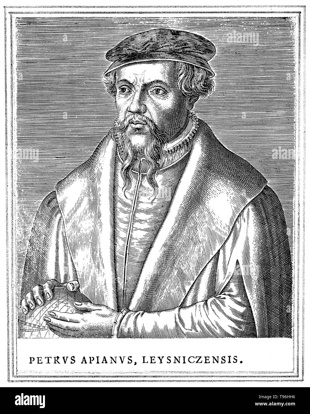 Petrus Apianus (April 16, 1495 - April 21, 1552) was a German humanist, known for his works in mathematics, astronomy and cartography. In 1524 he produced his Cosmographicus liber, a respected work on astronomy and navigation that was to see at least 30 reprints in 14 languages. In 1527 he published a variation of Pascal's triangle, and in 1534 a table of sines. In 1531, he observed a comet and discovered that a comet's tail always point away from the sun. In 1540, he printed the Astronomicum Caesareum, dedicated to Charles V who appointed him his court mathematician. He designed sundials, pub - Stock Image