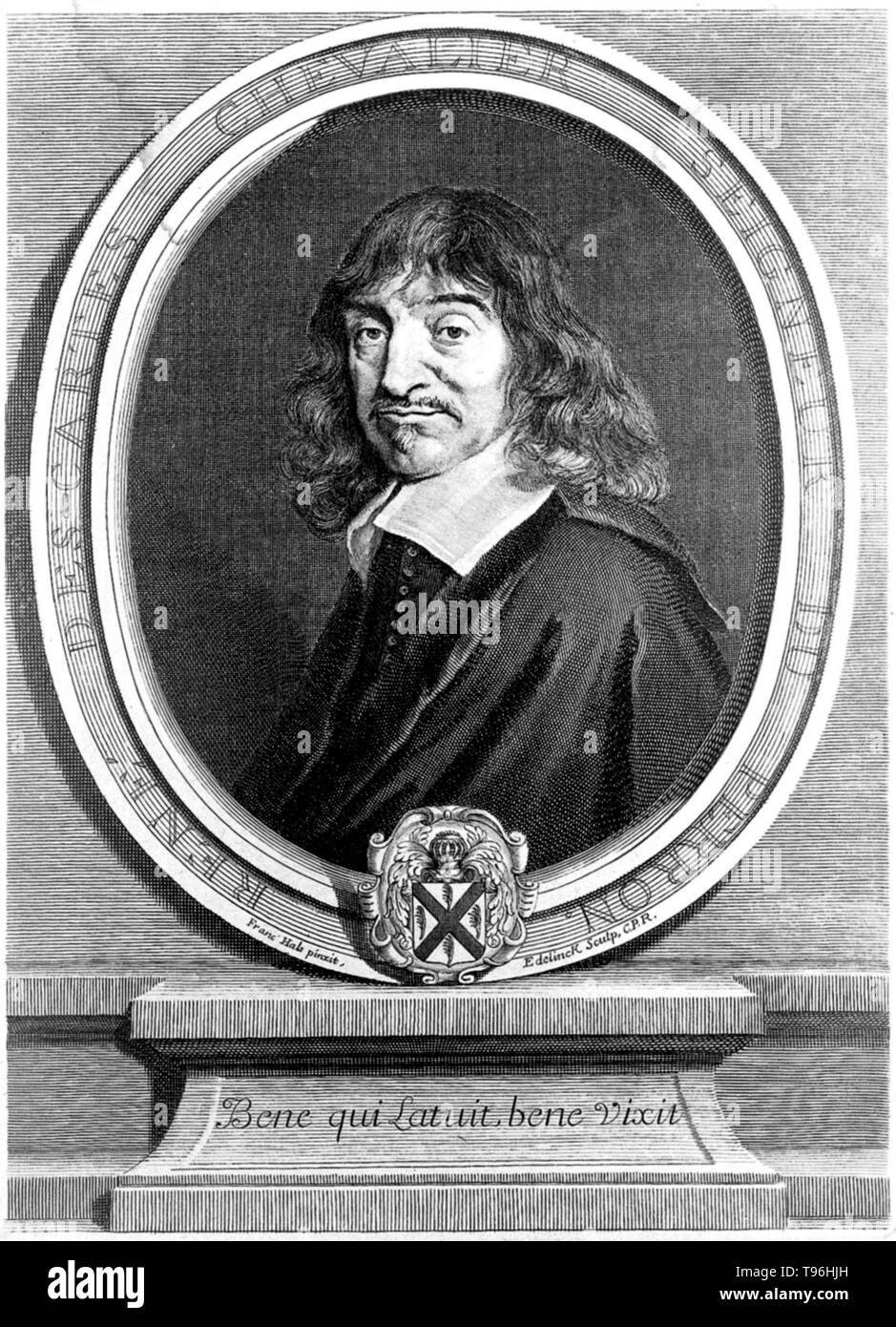 René Descartes (March 31, 1596 - February 11, 1650) was a French mathematician, philosopher and physiologist. Living on his modest inherited wealth, Descartes traveled, studied, wrote, and served as a soldier in Holland, Bohemia and Hungary. He created analytical geometry, which translates geometrical problems into algebraic form so that algebraic methods can be applied to their solution. Conversely he applied geometry to algebra. He propounded Cartesian dualism, stating that mind and matter are two distinct substances which can interact. He believed that god is the prime mover of matter, and  - Stock Image