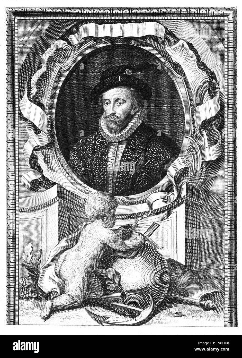 Walter Raleigh (1554 - October 29, 1618) was an English aristocrat, writer, poet, soldier, courtier, spy, and explorer. He is most remembered for popularizing tobacco in England. His plan in 1584 for colonization in North America ended in failure at Roanoke Island, but paved the way for subsequent colonies. Though a favorite of Queen Elizabeth I he secretly married Elizabeth Throckmorton, one of the Queen's ladies-in-waiting in 1591 without the Queen's permission and he and his wife were sent to the Tower of London. In 1594 Raleigh heard of a ''City of Gold'' in South America and sailed to fin - Stock Image