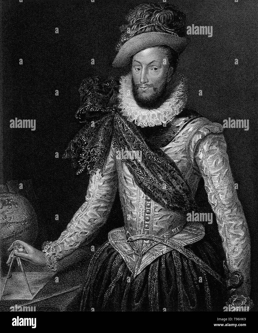 Walter Raleigh (1554 - October 29,1618) was an English aristocrat, writer, poet, soldier, courtier, spy, and explorer. He is most remembered for popularizing tobacco in England. His plan in 1584 for colonization in North America ended in failure at Roanoke Island, but paved the way for subsequent colonies. Though a favorite of Queen Elizabeth I he secretly married Elizabeth Throckmorton, one of the Queen's ladies-in-waiting in 1591 without the Queen's permission and he and his wife were sent to the Tower of London. In 1594 Raleigh heard of a ''City of Gold'' in South America and sailed to find - Stock Image