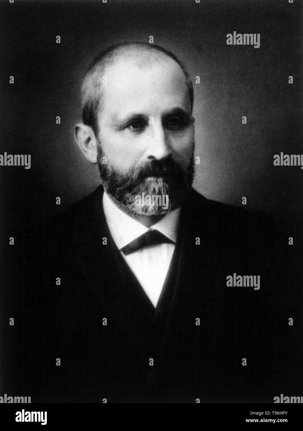 Johannes Friedrich Miescher (August 13, 1844 - August 26, 1895) was a Swiss physician and biologist. Miescher isolated various phosphate-rich chemicals, which he called nuclein (now nucleic acids), from the nuclei of white blood cells in 1869, paving the way for the identification of DNA as the carrier of inheritance. The significance of the discovery, first published in 1871, was not at first apparent, and it was Albrecht Kossel who made the initial inquiries into its chemical structure. - Stock Image