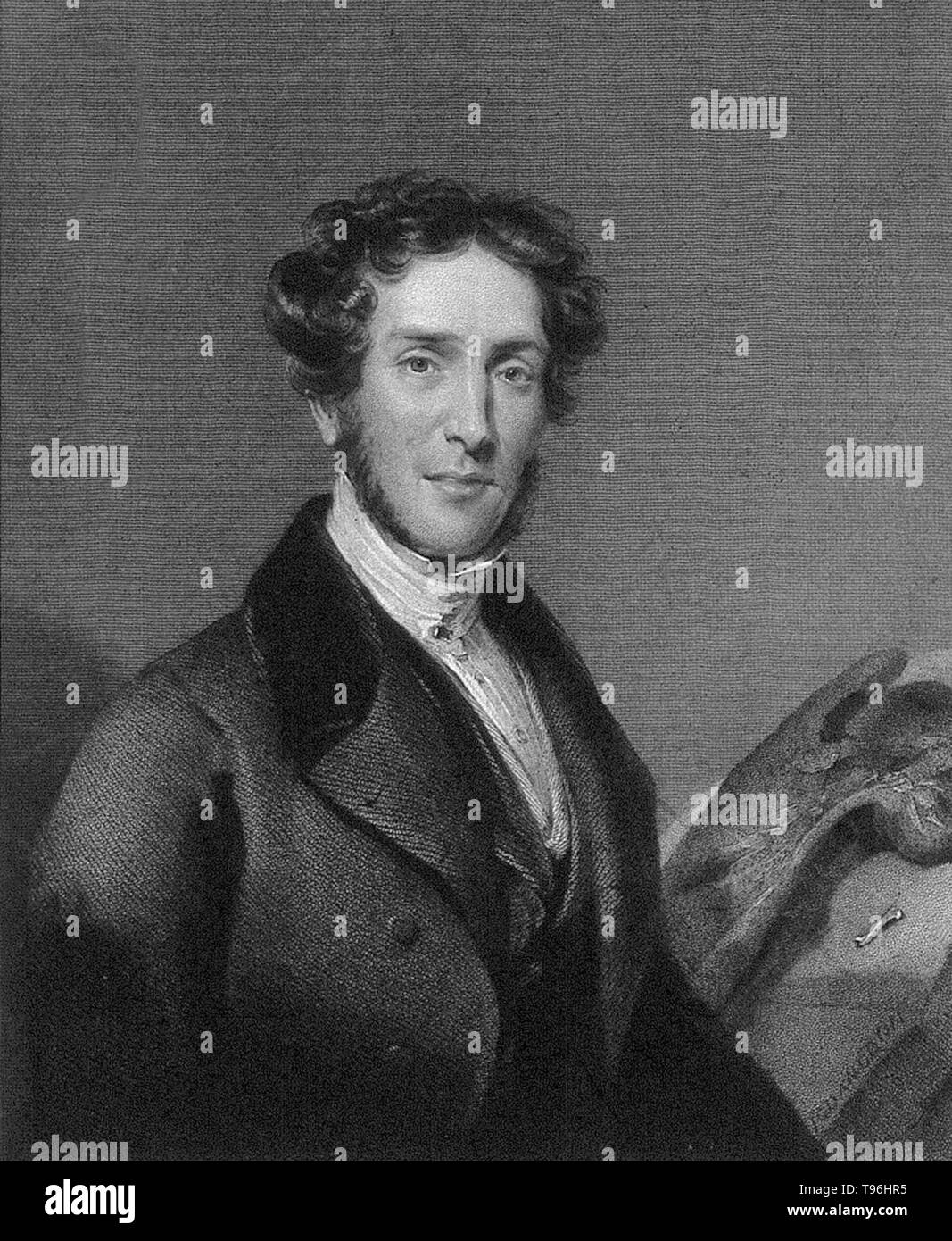 Gideon Algernon Mantell (February 3, 1790 -  November 10, 1852) was an English obstetrician, geologist and paleontologist. His attempts to reconstruct the structure and life of Iguanodon began the scientific study of dinosaurs: in 1822  he was responsible for the discovery (and the eventual identification) of the first fossil teeth, and later much of the skeleton, of Iguanodon. In 1841 Mantell was the victim of a terrible carriage accident on Clapham Common. Somehow he fell from his seat, became entangled in the reins and was dragged across the ground. He suffered a debilitating spinal injury. - Stock Image