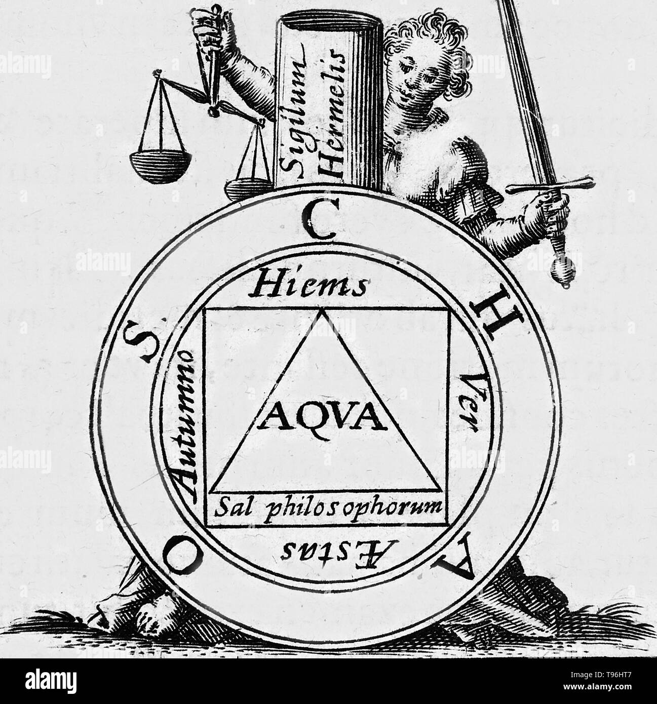 The Seventh Key of Basil Valentine from the 'Twelve Keys of Basil Valentine,' an influential alchemical work first published in 1599 by Johann Thölde. It discusses general alchemical principles. Each chapter, or 'key,' is an allegorical description of one step in the process of creating the philosopher's stone, a legendary alchemical substance capable of turning base metals into gold. - Stock Image