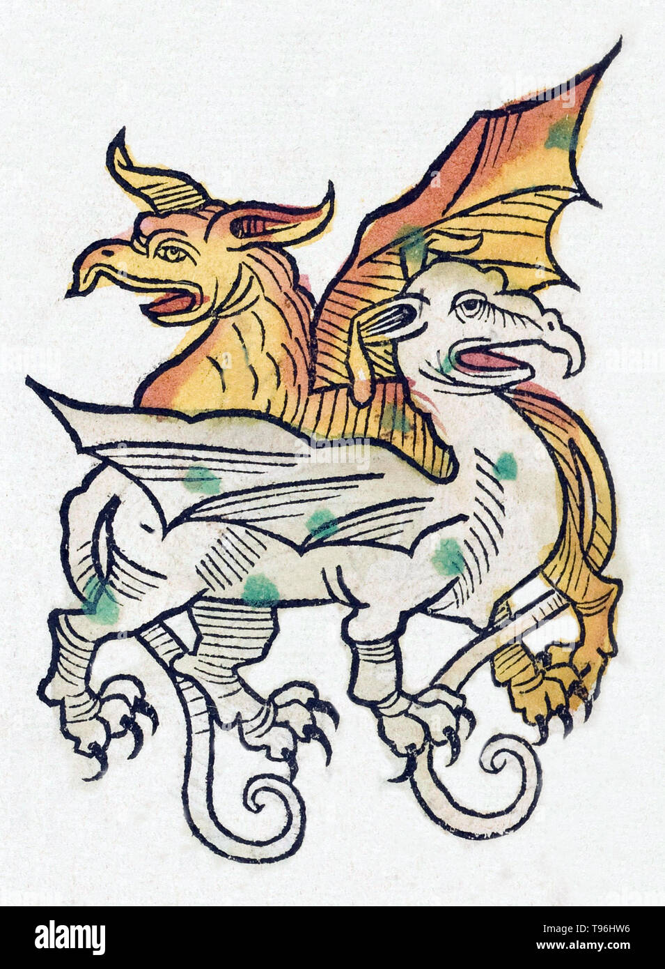Mythical winged creatures. The Hortus Sanitatis (Garden of Health), the first natural history encyclopedia, was published by Jacob Meydenbach in Germany, 1491.  He describes plants and animals (both real and mythical) together with minerals and various trades, with their medicinal value and method of preparation. The hand-colored woodcut illustrations are stylized but often easily recognizable. 1547 edition. - Stock Image