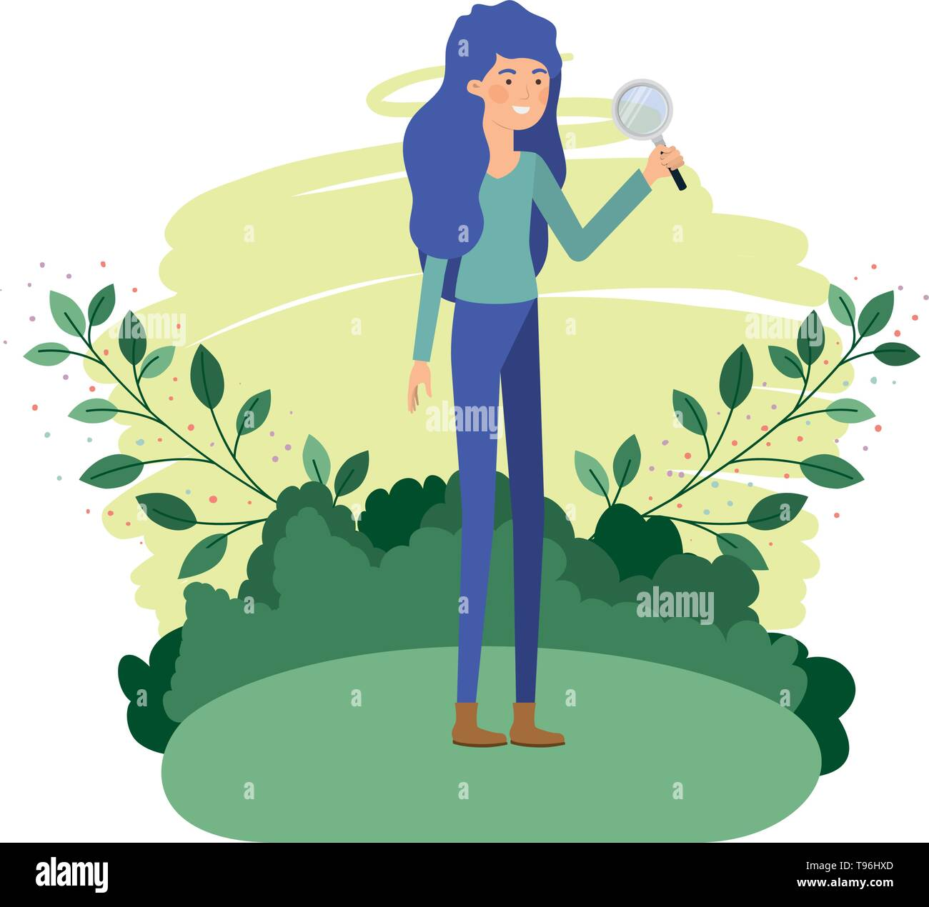 woman in landscape with magnifying glass - Stock Vector