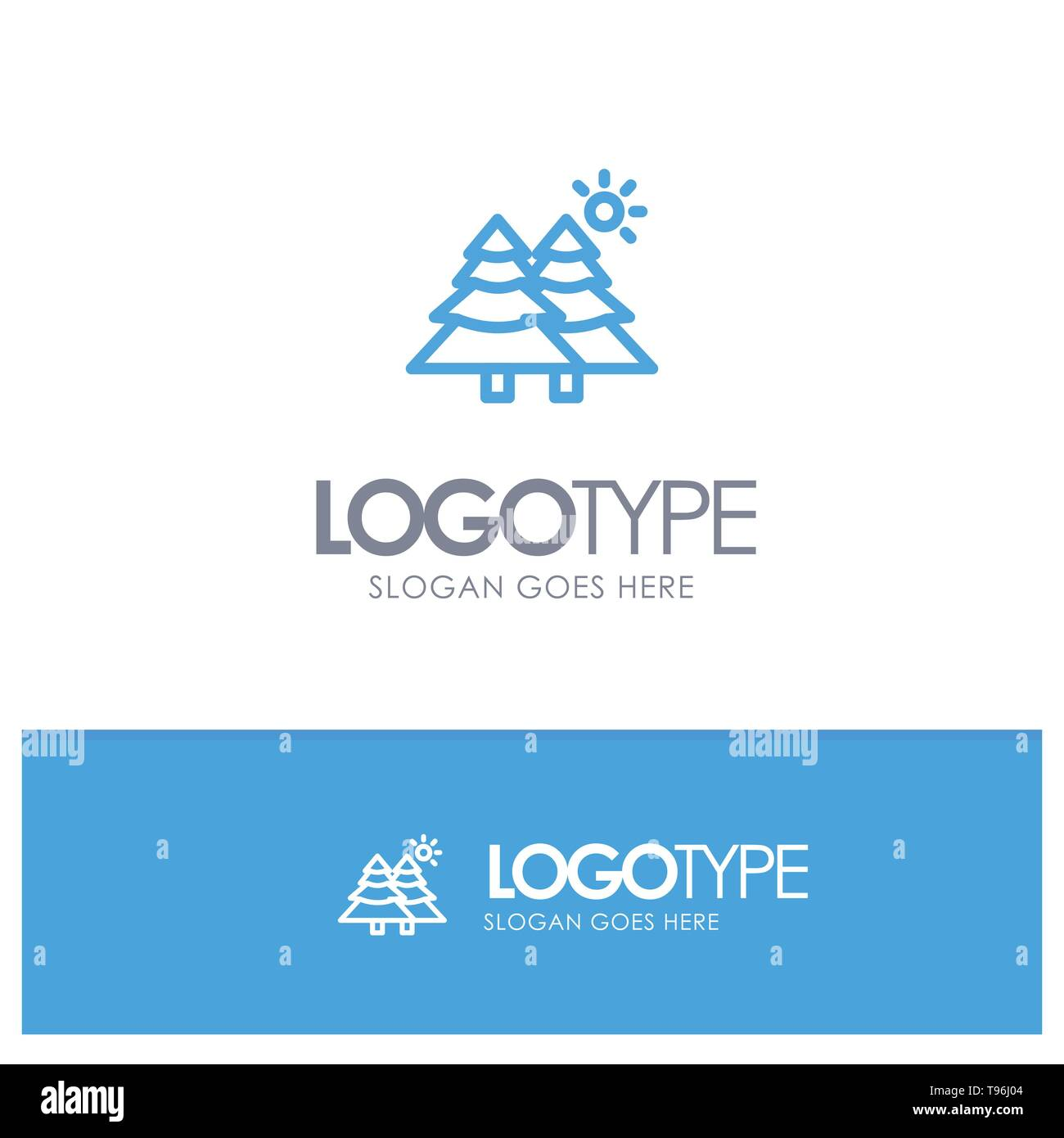 Fir, Forest, Nature, Trees Blue Logo Line Style - Stock Image
