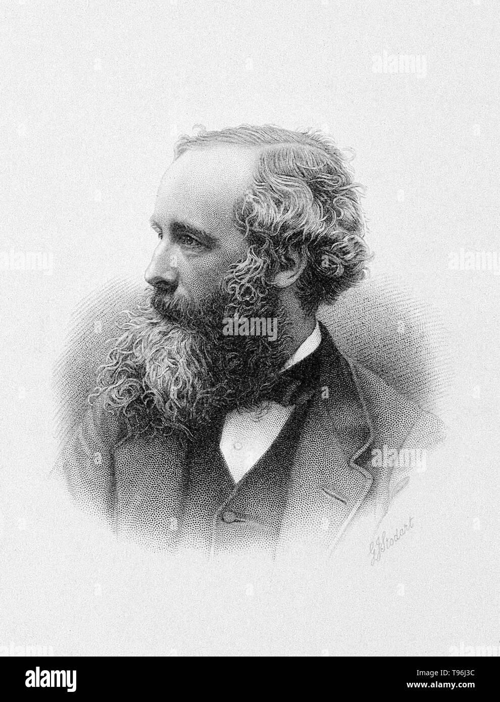 James Clerk Maxwell (1831-1879), Scottish physicist whose major work was on light and electromagnetic waves. He showed that oscillating charges produced waves in an electromagnetic field, and that these waves had the same velocity as light. This led him to predict other forms of electromagnetic radiation, such as radio waves. His equations introduced the value c for the speed of light. He also worked on the motions of molecules in a gas, and showed that Saturn's rings must be composed of numerous particles. - Stock Image