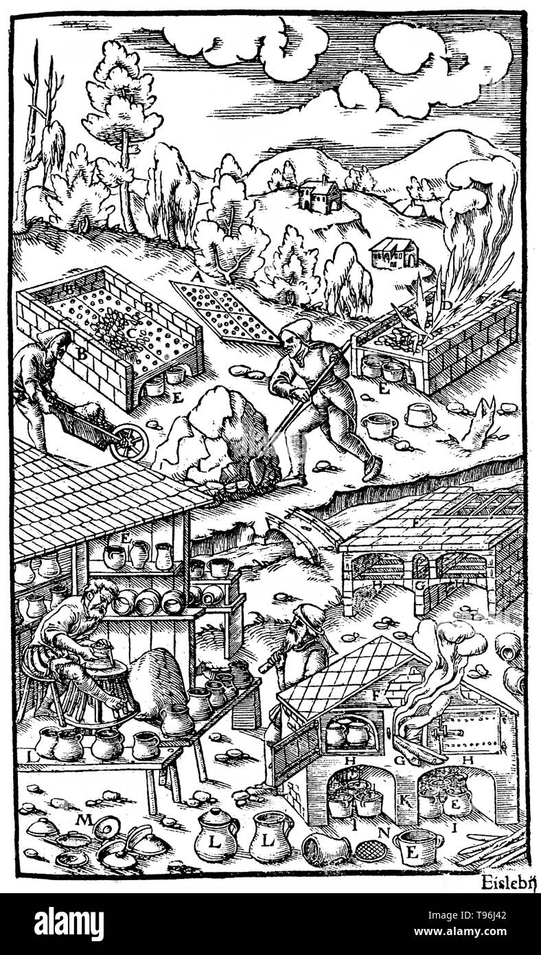 Woodcut from De Re Metallica. Burning charcoal and pots filled with ore. Georgius Agricola (March 24, 1494 - November 21, 1555) was a German scholar and scientist, known as ''the father of mineralogy''. In 1556 he published his book De Re Metallica, a treatise on mining and extractive metallurgy, with woodcuts illustrating processes to extract ores from the ground and metal from the ore, and the many uses of water mills in mining. He described and illustrated how ore veins occur in and on the ground, making the work an early contribution to the developing science of geology. He described prosp - Stock Image