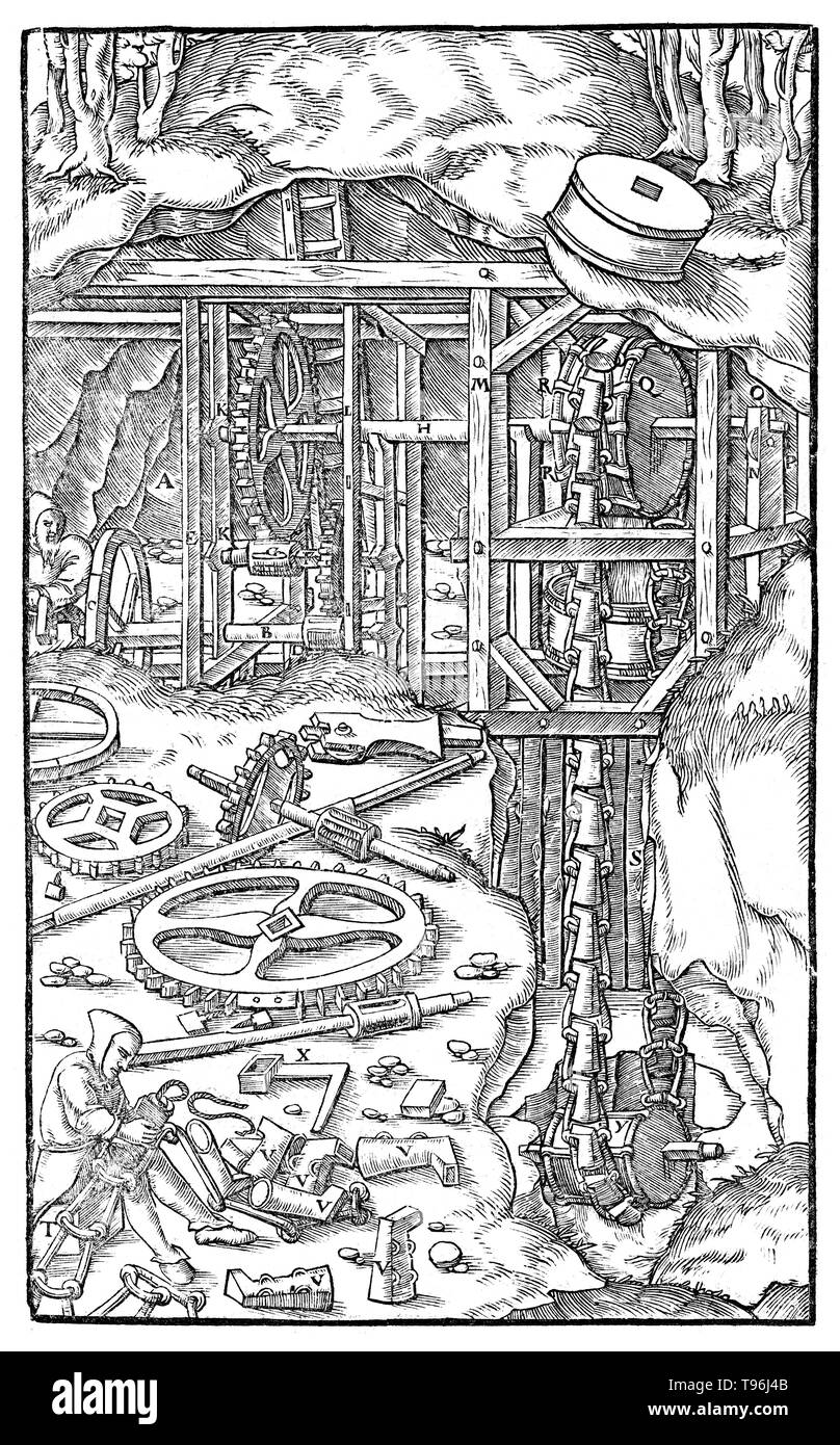 Woodcut from De Re Metallica. Machine for drawing water. Georgius Agricola (March 24, 1494 - November 21, 1555) was a German scholar and scientist, known as ''the father of mineralogy''. In 1556 he published his book De Re Metallica, a treatise on mining and extractive metallurgy, with woodcuts illustrating processes to extract ores from the ground and metal from the ore, and the many uses of water mills in mining. He described and illustrated how ore veins occur in and on the ground, making the work an early contribution to the developing science of geology. He described prospecting for ore v - Stock Image
