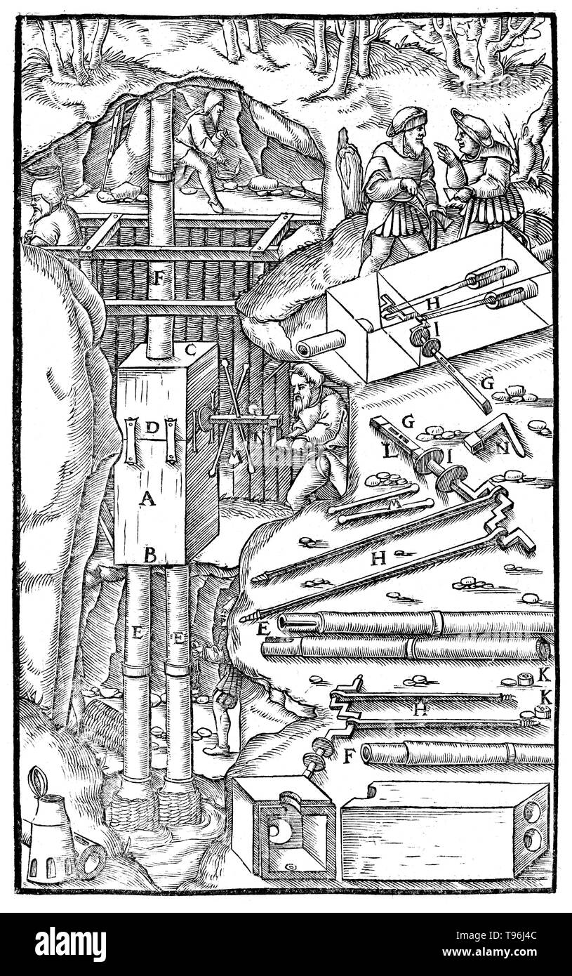 Woodcut from De Re Metallica. Pump which draws, by means of pistons, water which has been raised by suction. Georgius Agricola (March 24, 1494 - November 21, 1555) was a German scholar and scientist, known as ''the father of mineralogy''. In 1556 he published his book De Re Metallica, a treatise on mining and extractive metallurgy, with woodcuts illustrating processes to extract ores from the ground and metal from the ore, and the many uses of water mills in mining. He described and illustrated how ore veins occur in and on the ground, making the work an early contribution to the developing sc - Stock Image