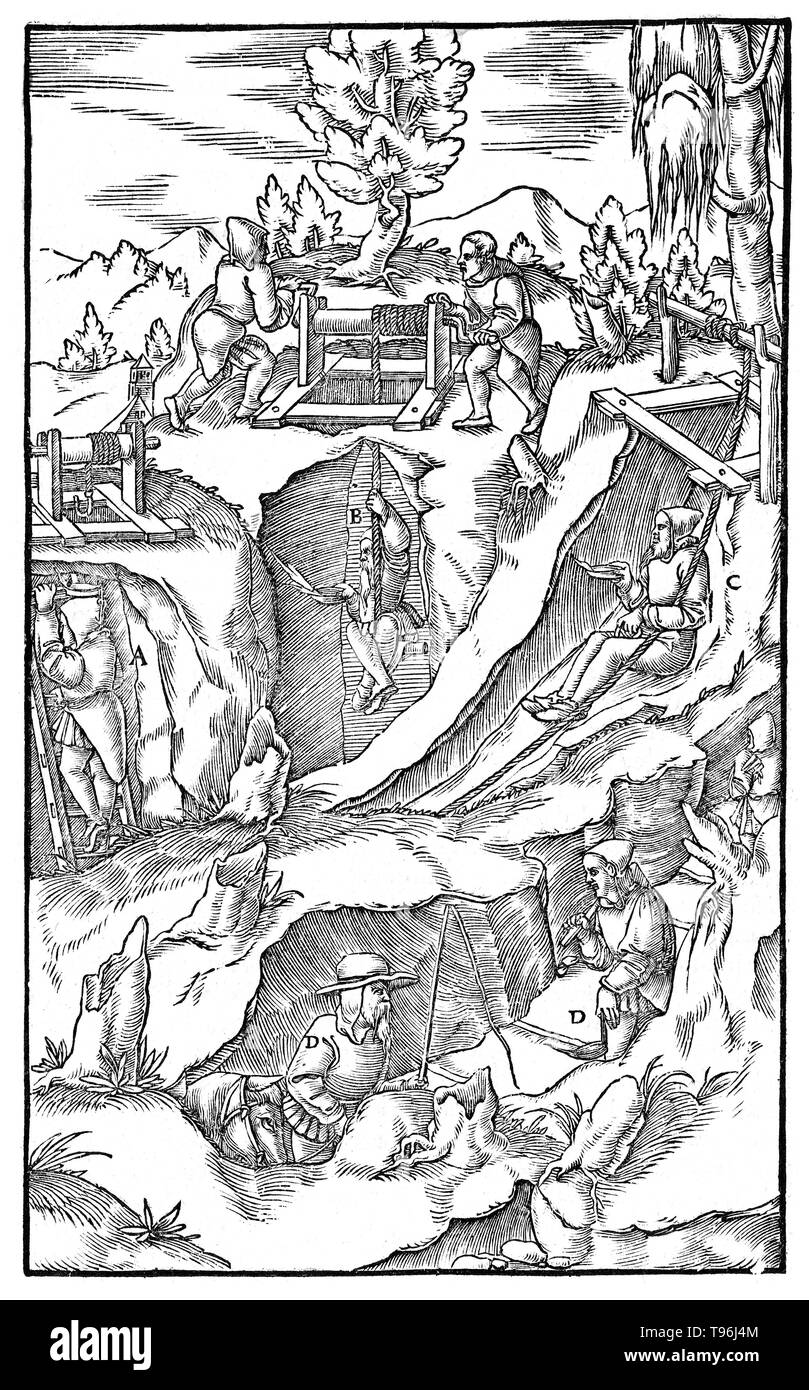 Woodcut from De Re Metallica. Mining techniques. Liber sextus (book 6). Georgius Agricola (March 24, 1494 - November 21, 1555) was a German scholar and scientist, known as ''the father of mineralogy''. In 1556 he published his book De Re Metallica, a treatise on mining and extractive metallurgy, with woodcuts illustrating processes to extract ores from the ground and metal from the ore, and the many uses of water mills in mining. He described and illustrated how ore veins occur in and on the ground, making the work an early contribution to the developing science of geology. He described prospe - Stock Image