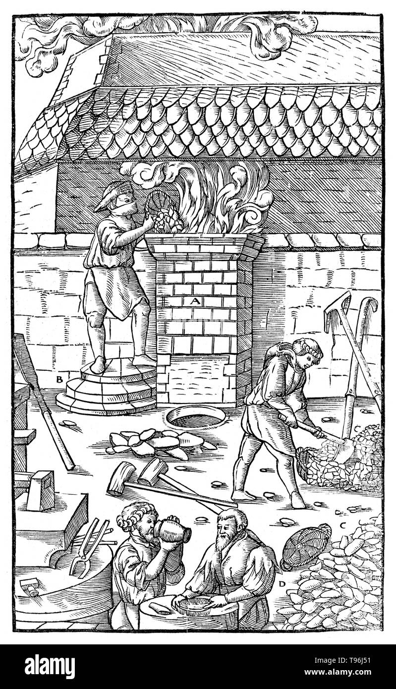 Woodcut from De Re Metallica. Georgius Agricola (March 24, 1494 - November 21, 1555) was a German scholar and scientist, known as ''the father of mineralogy''. In 1556 he published his book De Re Metallica, a treatise on mining and extractive metallurgy, with woodcuts illustrating processes to extract ores from the ground and metal from the ore, and the many uses of water mills in mining. He described and illustrated how ore veins occur in and on the ground, making the work an early contribution to the developing science of geology. He described prospecting for ore veins and surveying in great - Stock Image