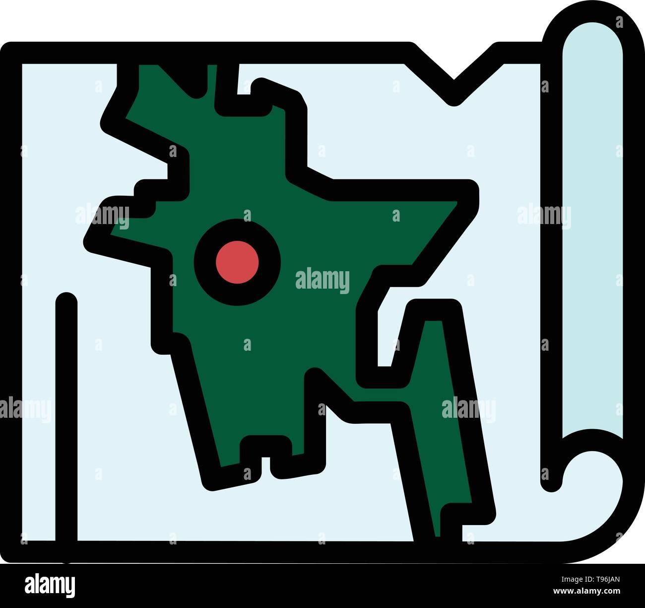 Bangladesh, Map, World, Bangla  Flat Color Icon. Vector icon banner Template - Stock Image