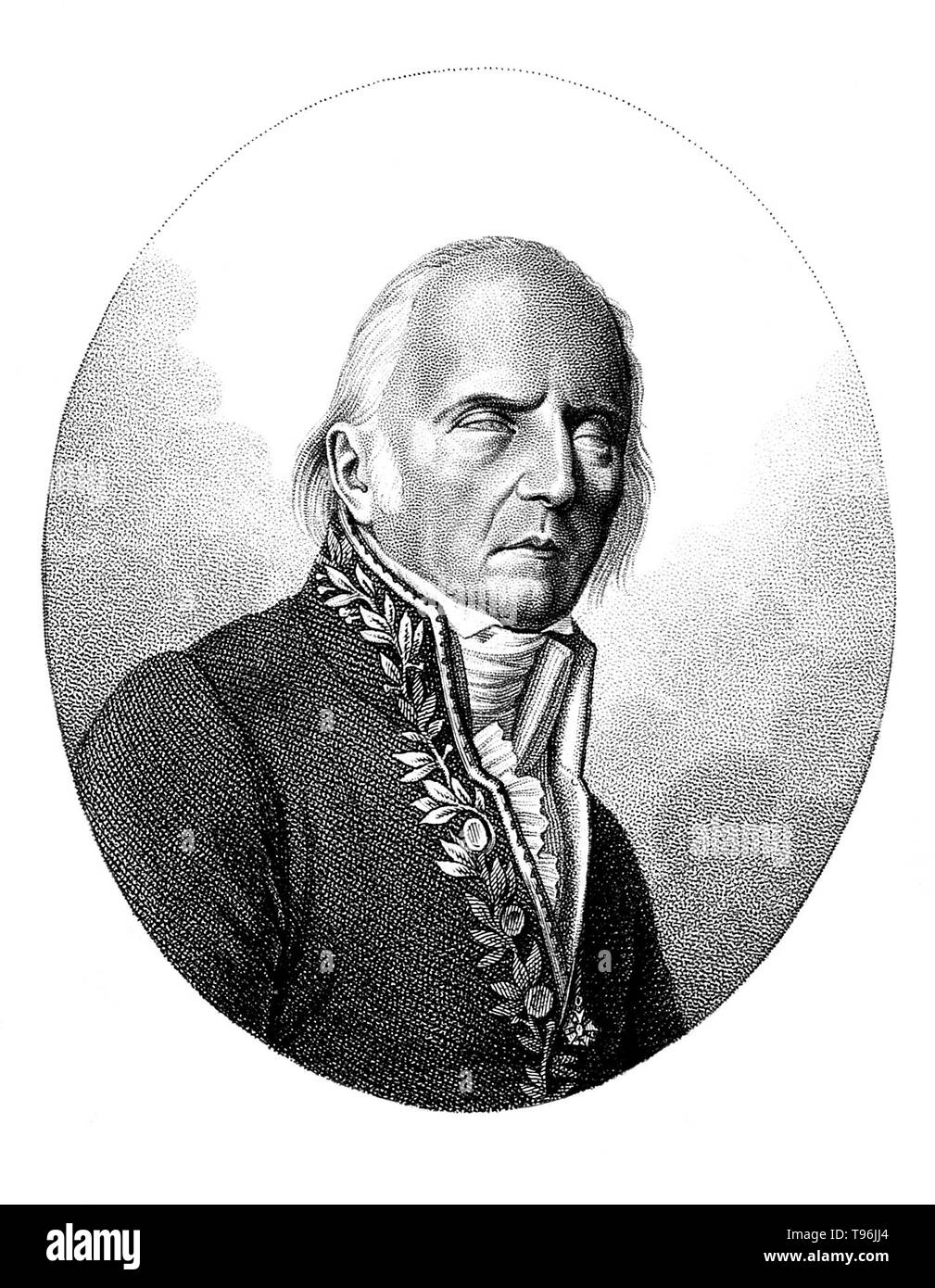 Jean-Baptiste Pierre Antoine de Monet, Chevalier de la Marck (August 1, 1744-December 18, 1829), often known simply as Lamarck, was a French naturalist. He was a soldier, biologist, academic, and an early proponent of the idea that evolution occurred and proceeded in accordance with natural laws. His theory of evolution was based on the idea that acquired characteristics are inherited. After 1800 he put forward general ideas on plant and animal species, which he believed were not ''fixed''. He proposed that in nature it is the environment that produces change; the length of the giraffe's neck, - Stock Image