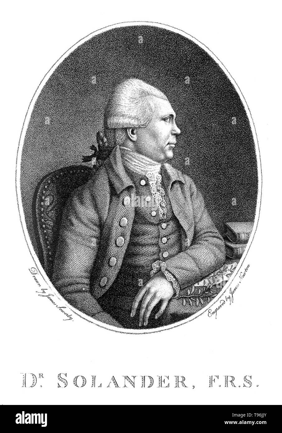 Daniel Carlsson Solander (February 19, 1733 - May 13, 1782) was a Swedish naturalist. In 1768, Solander gained leave of absence from the British Museum and accompanied Joseph Banks on James Cook's first voyage to the Pacific Ocean aboard the Endeavour. In 1772 he accompanied Banks on his voyage to Iceland, the Hebrides and the Orkney Islands. Between 1773 and 1782 he was Keeper of the Natural History Department of the British Museum. He died of a stroke at the age of 49. Stock Photo