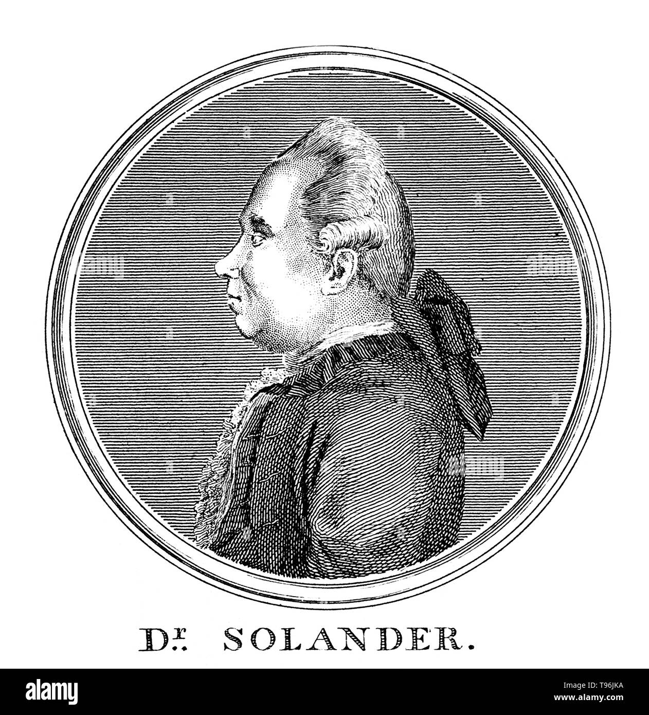 Daniel Carlsson Solander (February 19, 1733 - May 13, 1782) was a Swedish naturalist. In 1768, Solander gained leave of absence from the British Museum and accompanied Joseph Banks on James Cook's first voyage to the Pacific Ocean aboard the Endeavour. In 1772 he accompanied Banks on his voyage to Iceland, the Hebrides and the Orkney Islands. Between 1773 and 1782 he was Keeper of the Natural History Department of the British Museum. He died of a stroke at the age of 49. An autopsy was performed the next day, and revealed a brain hemorrhage. Solander's reputation has been profoundly influenced - Stock Image