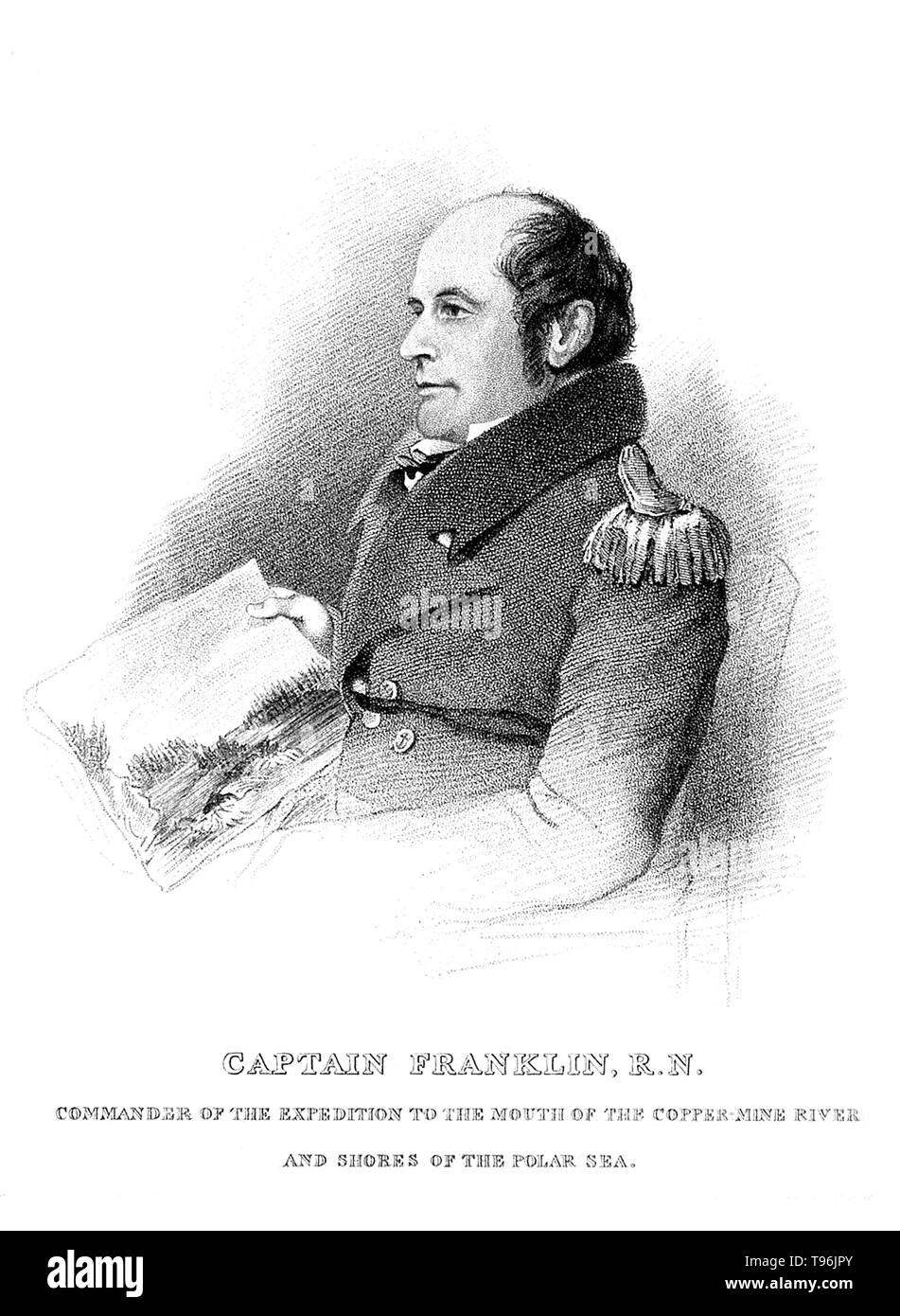 Rear-admiral Sir John Franklin (April 16, 1786 - June 11, 1847) was an English Royal Navy officer and explorer of the Arctic. In 1819, Franklin was chosen to lead an expedition overland from Hudson Bay to chart the north coast of Canada eastwards from the mouth of the Coppermine River. He lost 11 of the 20 men in his party. Most died of starvation, but there were also at least one murder and suggestions of cannibalism. The survivors were forced to eat lichen and even attempted to eat their own leather boots. In 1825, he left for his second Canadian and third Arctic expedition. The goal this ti - Stock Image
