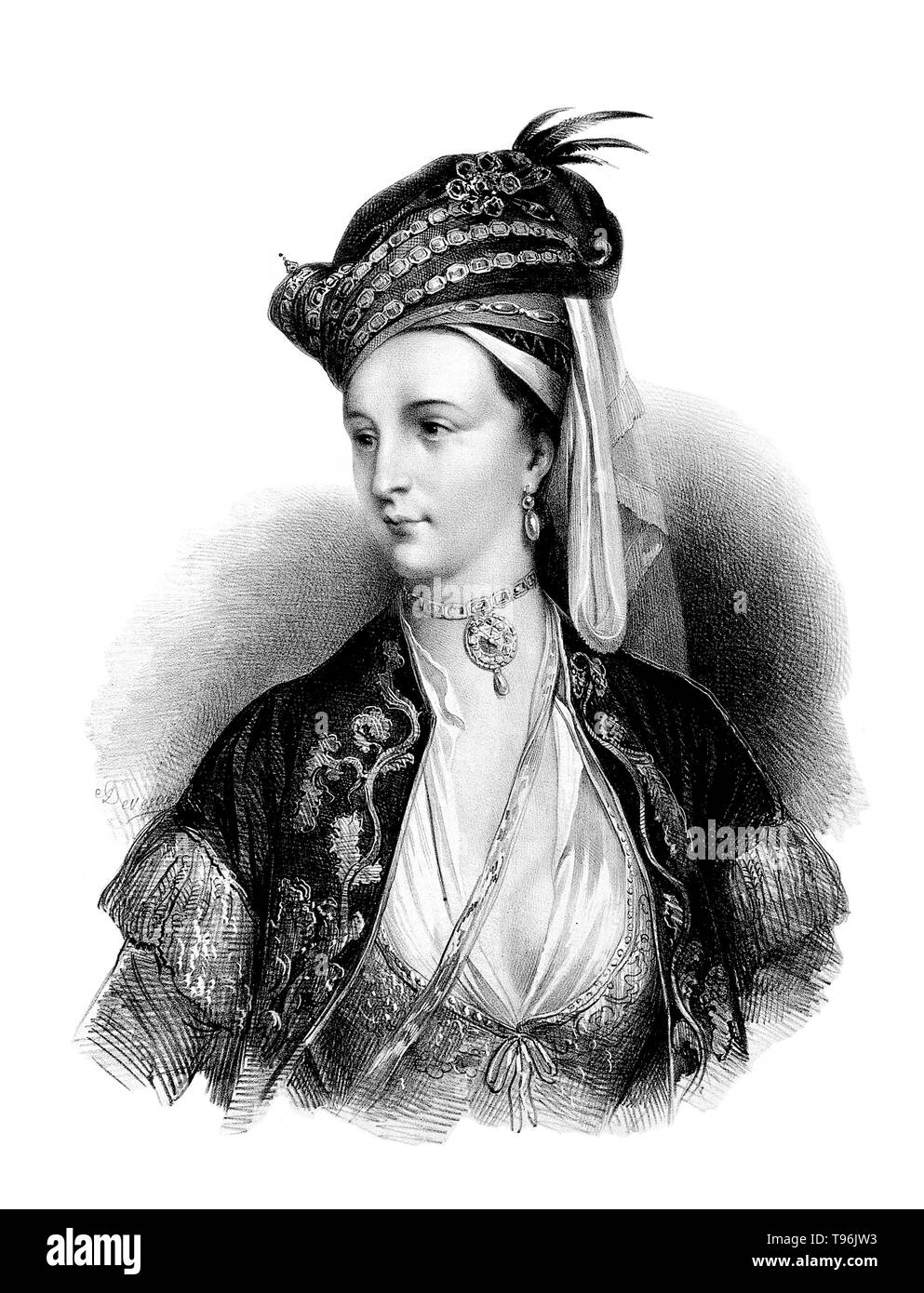 Lady Mary in Turkish dress. Lady Mary Wortley Montagu (1689 - August 21, 1762) was an English aristocrat, letter writer and poet. Lady Mary is today chiefly remembered for her travels to the Ottoman Empire, as wife to the British ambassador to Turkey. The story of this voyage and of her observations of Eastern life is told in Letters from Turkey. During her visit she was charmed by the beauty and hospitality of the Ottoman women she encountered. She wrote about misconceptions previous travelers, specifically male travelers, had recorded about the religion, traditions and the treatment of women - Stock Image