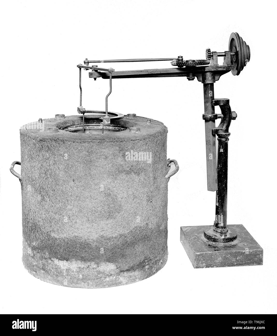Calorimeter designed and used by Berthelot for determining heat developed in chemical reactions. Pierre Eugène Marcellin Berthelot (October 25, 1827 - March 18, 1907) was a French chemist and politician noted for the Thomsen-Berthelot principle of thermochemistry which argued that all chemical changes are accompanied by the production of heat and that processes which occur will be ones in which the most heat is produced. He synthesized many organic compounds from inorganic substances and disproved the theory of vitalism. He is considered as one of the greatest chemists of all time. The fundame - Stock Image