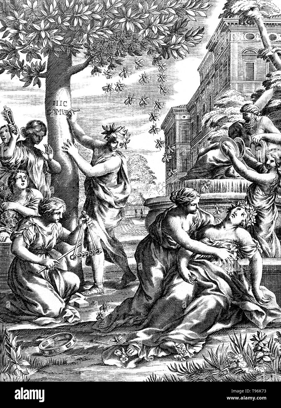 Group of women (nymphs) in classical robes, playing music next to a fountain. One woman has been stung by a bee and is lying on the ground. A bee sting is a sting from a bee (honey bee, bumblebee, sweat bee, etc.). The stings of most of these species can be quite painful, and are therefore keenly avoided by many people. A honey bee that is away from the hive foraging for nectar or pollen will rarely sting, except when stepped on or roughly handled. Honey bees will actively seek out and sting when they perceive the hive to be threatened, often being alerted to this by the release of attack pher - Stock Image