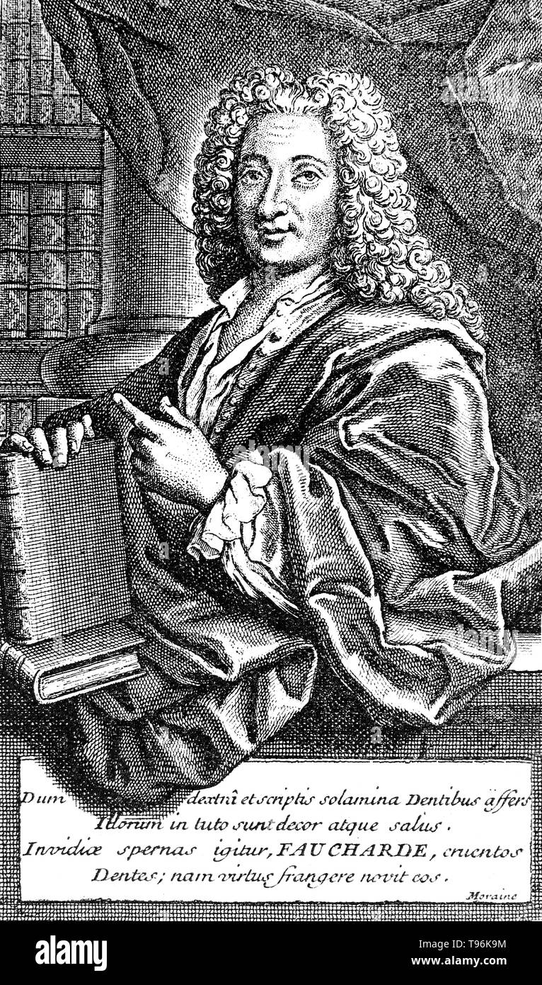 Pierre Fauchard (1678 - March 22, 1761) was a French physician, credited as being the father of modern dentistry. He is widely known for writing the first complete scientific description of dentistry, Le Chirurgien Dentiste (The Surgeon Dentist), published in 1728. - Stock Image