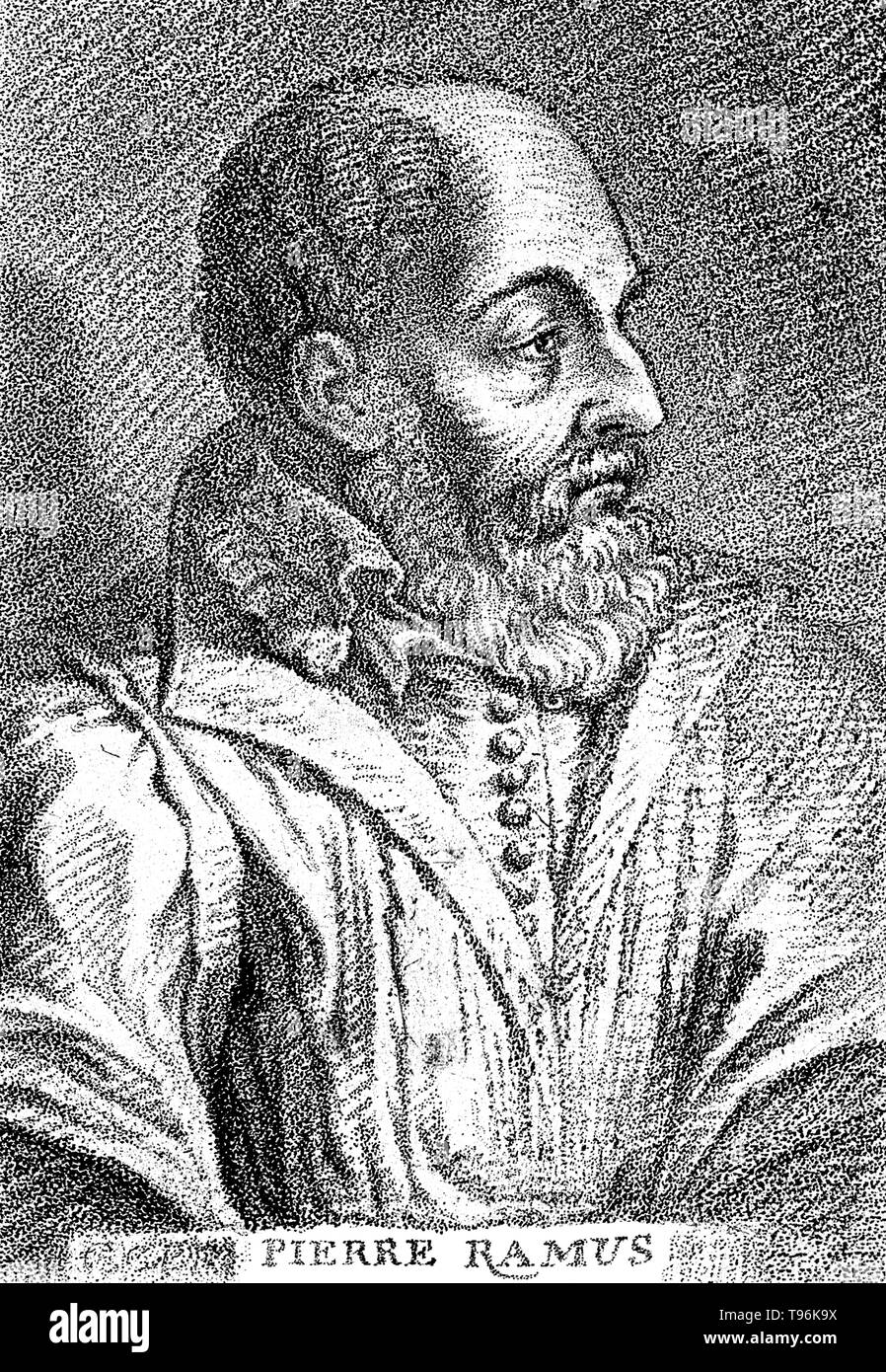Petrus Ramus (1515 - August 26, 1572) was an influential French humanist, logician, and educational reformer. He gained admission at age twelve, to the Collège de Navarre, working as a servant. A reaction against scholasticism was in full tide, at a transitional time for Aristotelianism. A central issue to his anti-Aristotelianism arose out of a concern for pedagogy. He sought to infuse order and simplicity into philosophical and scholastic education by reinvigorating a sense of dialectic as the overriding logical and methodological basis for the various disciplines. The logic of Ramus enjoyed - Stock Image
