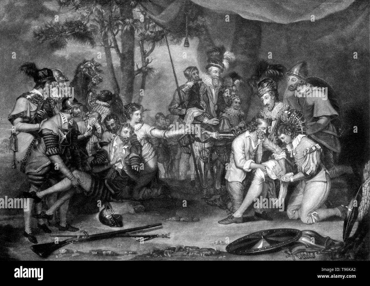 The death of Sir Philip Sidney at the battle of Zutphen: he passes the water to the soldier. Sir Philip Sidney (November 30, 1554 - October 17, 1586) was an English poet, courtier, scholar, and soldier, who is remembered as one of the most prominent figures of the Elizabethan age. - Stock Image