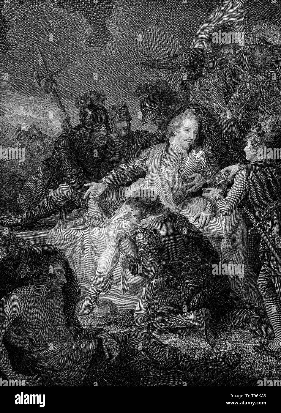 The death of Sir Philip Sidney at the battle of Zutphen. Sir Philip Sidney (November 30, 1554 - October 17, 1586) was an English poet, courtier, scholar, and soldier, who is remembered as one of the most prominent figures of the Elizabethan age. In 1572, at the age of 18, he was elected to Parliament as a Member of Parliament for Shrewsbury and in the same year travelled to France as part of the embassy to negotiate a marriage between Elizabeth I and the Duc D'Alencon. - Stock Image