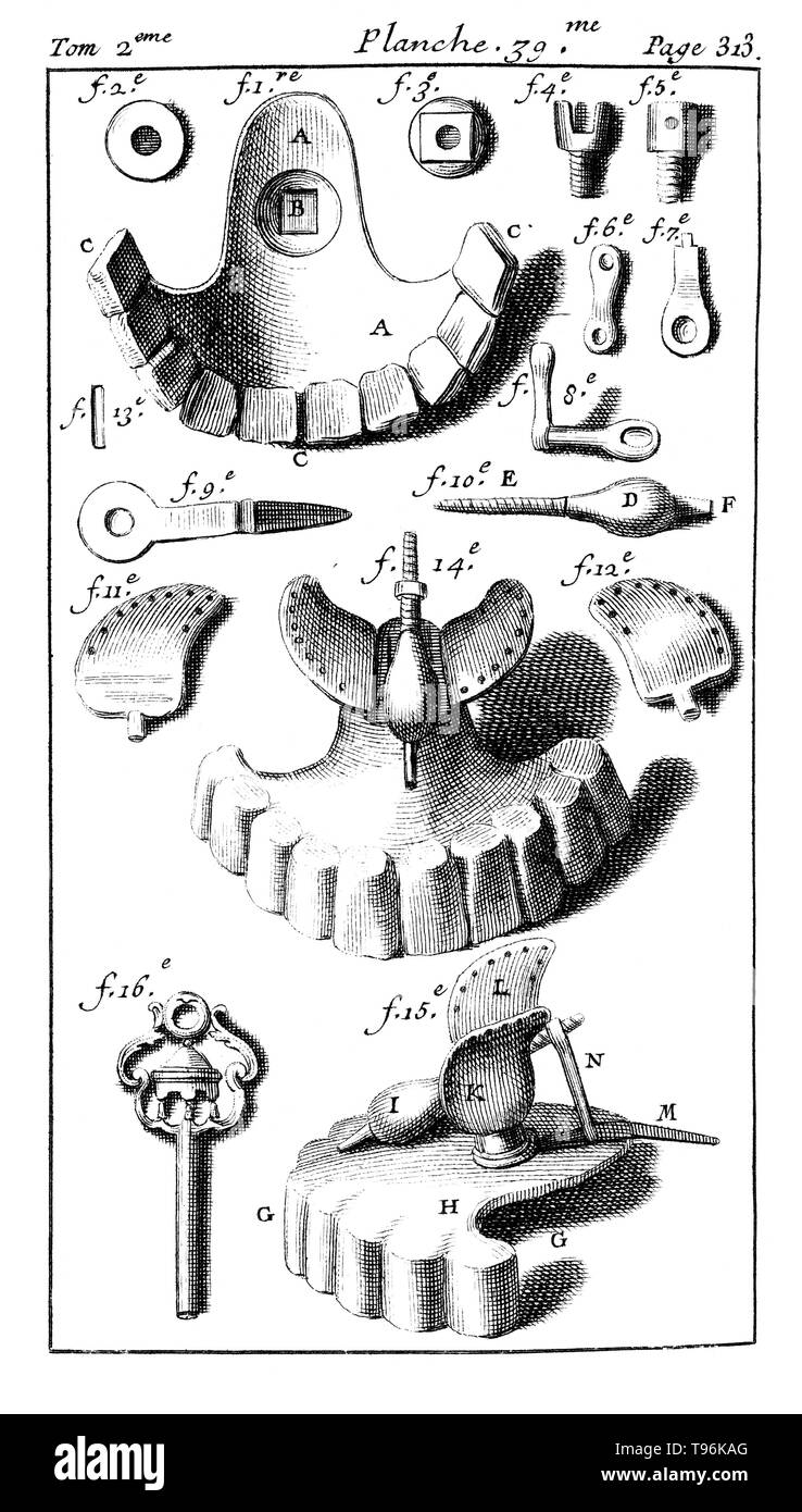 Tools used with dental prosthesis. Tome 2. Planche 39. Page 313. Pierre Fauchard (1678 - March 22, 1761) was a French physician, credited as being the father of modern dentistry. He is widely known for writing the first complete scientific description of dentistry, Le Chirurgien Dentiste (The Surgeon Dentist), published in 1728. - Stock Image