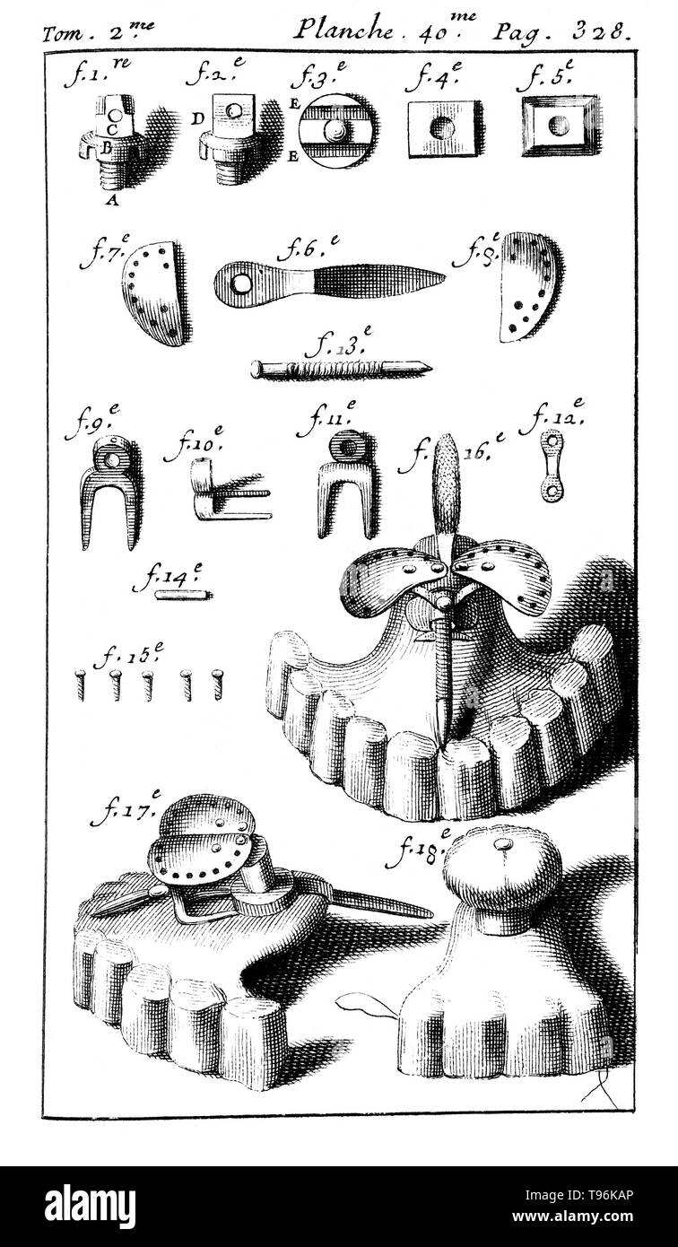 Dental tools used with dental prostheses. Tome 2. Planche 40. Page 328. Pierre Fauchard (1678 - March 22, 1761) was a French physician, credited as being the father of modern dentistry. He is widely known for writing the first complete scientific description of dentistry, Le Chirurgien Dentiste (The Surgeon Dentist), published in 1728. - Stock Image