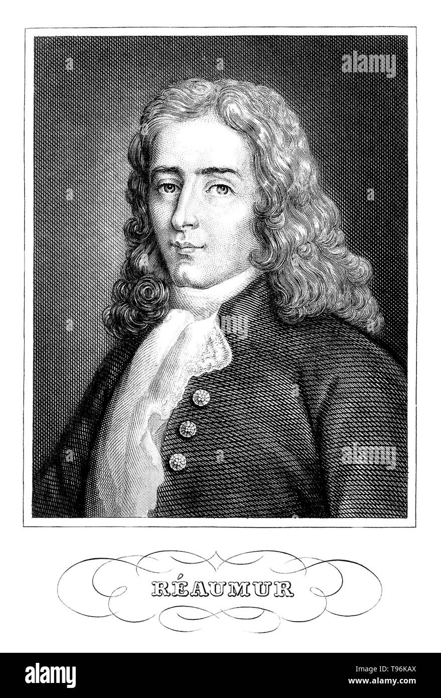 René Antoine Ferchault de Réaumur (February 28, 1683 - October 17, 1757) was a French scientist who contributed to many different fields, especially the study of insects. In 1699 he studied civil law and mathematics. In 1703 he went to Paris, where he continued the study of mathematics and physics, and in 1708 was elected, at the age of 24, a member of the Académie des Sciences. In 1731 he became interested in meteorology, and invented the thermometer scale which bears his name: the Réaumur. - Stock Image
