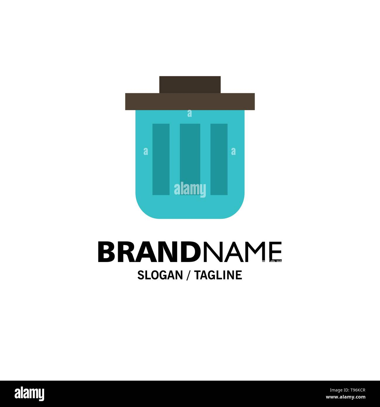 Trash, Basket, Bin, Can, Container, Dustbin, Office Business Logo Template. Flat Color - Stock Image